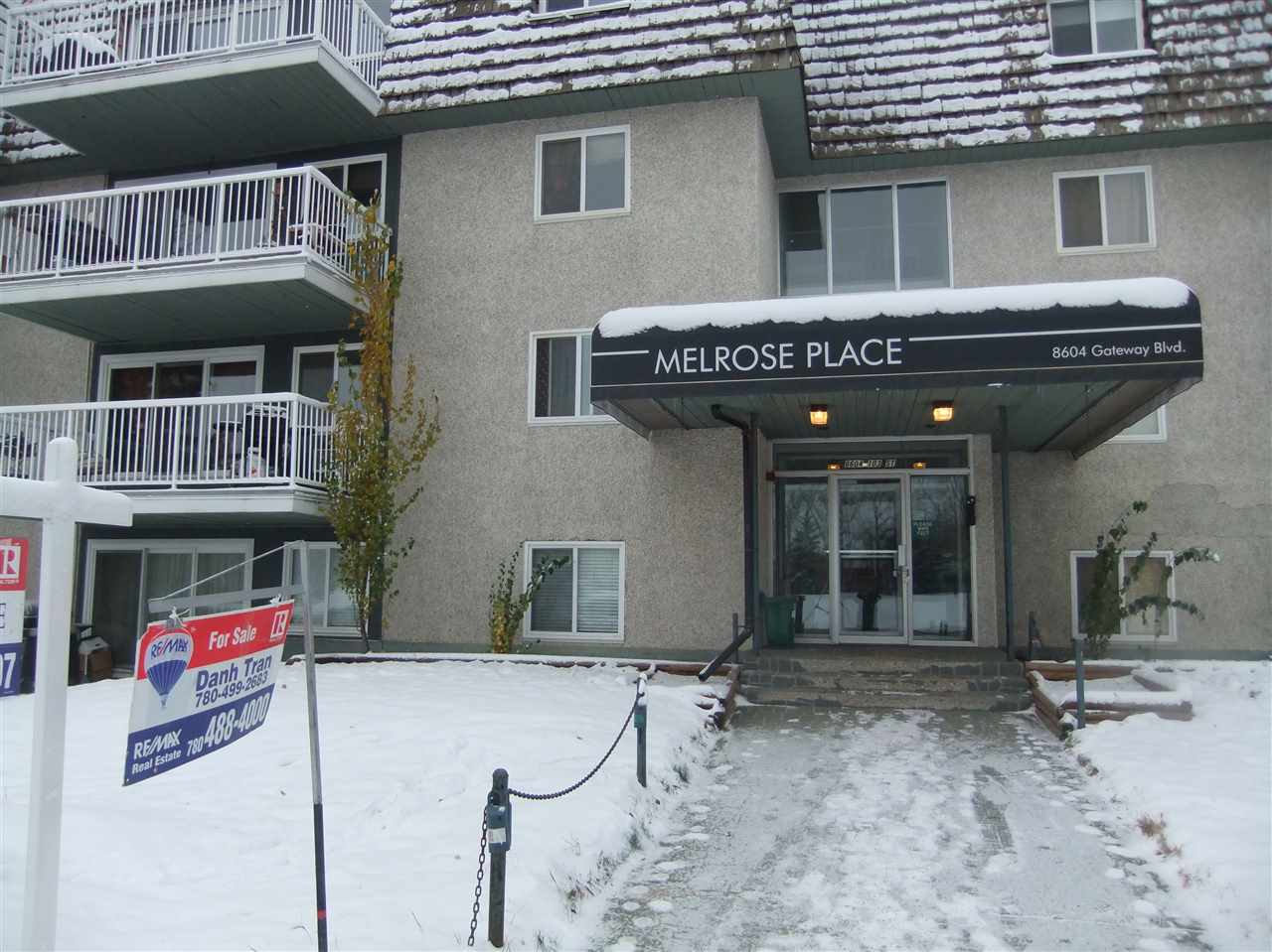 Just over 600 sqft 1 bedroom on 8th floor in the heart of Strathcona, spacious living room with huge balcony and great view, full bath, in-suite storage, few blocks from whyte ave and river valley, close to U of A, hardwood floor in LR and bedroom/ Available to move-in right away. Asking only $156,900. Price reduced for quick sale.