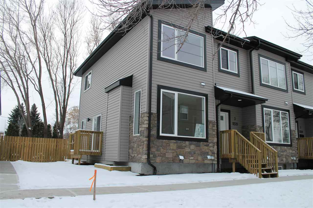 NEW Townhome in Desirable INGLEWOOD on a Mature Tree Lined Street! Property backs onto the DOG PARK & WALKING TRAIL which leads to The BREWERY DISTRICT! Great walkability & Close to the shops on 124st, The Royal Alex & Kingsway LRT! Unit Features 3 Bedrooms, 3 Bathrooms, 9' Ceilings, Engineered Hardwood, 12x24 Tile, Quartz Countertops, Undermount Sinks, Main Floor Laundry and Tons of Natural Light! Backdoor gives access to the Unspoiled Basement which is Roughed in for a Full Bathroom and Wet Bar! Detached Single Garage w/ 8' High Garage Door! Yard will be Fenced and Landscaped w/ Numerous trees and shrubs.