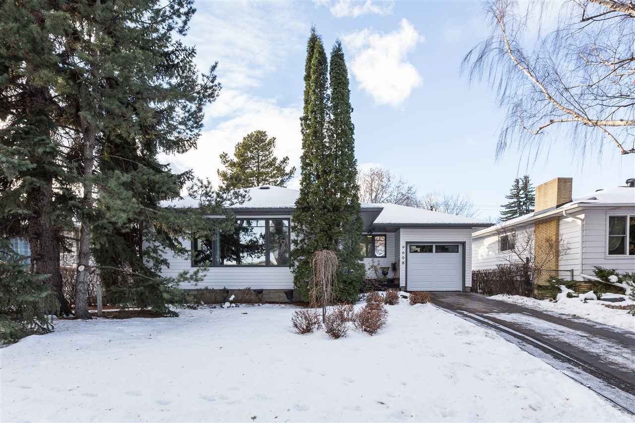 """Holyrood Bungalow.""""Jewel Box""""  1142 Sq.Ft. 3 Bdrms (2+1) 2 Bathrooms.Custom,High Quality,Professional,Detailed,Contemporary.Rich Warm Tones.Hardwood,Slate,Moldings,Trims,Custom Window Treatments.Floor Plan w/Distinctive Separate Living Spaces.Formal Living Rm,Slate Feature Wall,Electric Fireplace w/Shelving Formal Dining Pocket.French Doors to Office/Bdrm.Chefs Kitchen w/Custom """"Delton"""" Full Height Cabinets,Granite,Gas Cook Top,Unique Range Hood,Bosch Stainless Appliances,Reed Glass Inserts, Cabinet Lighting.Master Suite w/Pagoda Closet.Wall-Mount  Flat Panel Stays in 3rd Bdrm."""" Maax"""" Bath Molded Tub,Shower Fixture w/Rain Shower,River Rock Granite,Raised Beveled Glass Basin.Fully Fin. Bsmt w/ Huge 4th Bdrm,3 Pce Bath. Family Rm,Gas Fireplace, New Flooring. Gym,Study Area,Ample Storage. L.G. Stainless Washer,Dryer. New Electrical, Gienow Windows,Mech.Furnace,Shingles Central AC """"Stamped Concrete Driveway,Walks"""" Magnificent West Yard,Shed. 7 Min to Downtown.Schools,Services Future LRT. Immediate 9608- 79 St"""