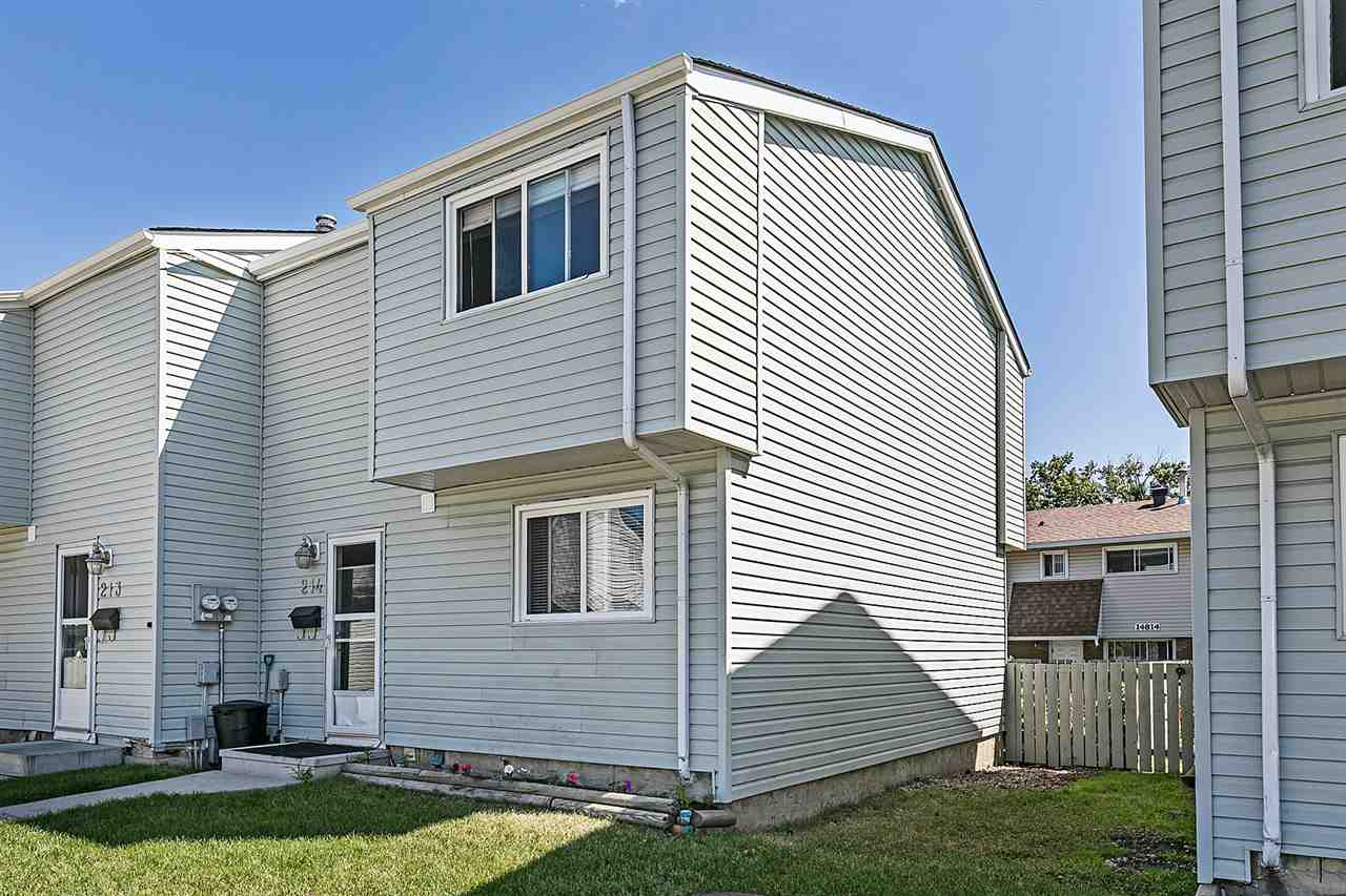 Well maintained 1,050 square foot 3 bedroom 2 storey in the Dickinsfield Court complex, located in the mature neighbourhood of Evansdale. This end unit condo has newer shingles, doors, windows, sidewalks and vinyl siding. Three bedrooms up plus a 4 piece bathroom. Main floor living area has hardwood flooring, good sized kitchen and a 2 piece bath. The unfinished basement (with a full sized washer and dryer) is great for storage as you plan how to finish the space to your wishes. Fenced yard for your enjoyment. Assigned parking is close by. Walk to schools and buses in the area. Low condo fees of $204.22 per month. Pets are allowed with Board approval. Well managed complex.