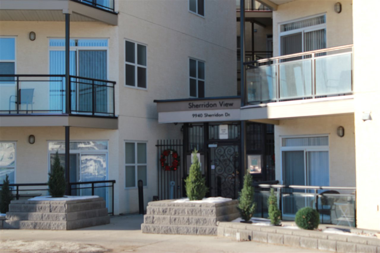 Welcome to Sherridon View! This 1074 sq ft condo has an open floor concept with large windows that allow so much natural light, making this 2 bedroom and 2 Full bathrooms so bright. This building is Pet friendly and backs on to the scenic North Saskatchewan river Valley, where you can walk the trails, ride your bike or just enjoy the scenery. This condo has in suite laundry and 2 titled parking ( 1 underground and 1 stall above ground). Love the quaint patio just off the living room and it has natural gas hook up for the BBQ season. Just a short walk to public transportation and just minutes from shopping, movie theatre and restaurants. Gotta See This Place!