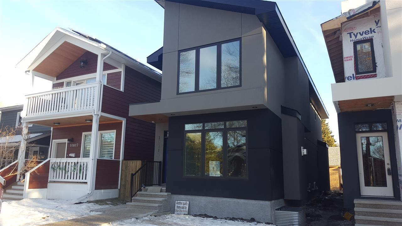 Location on this brand new infill is amazing.5 blks to Elementary,1 blk to huge off leash dog park,6 blks to the Brewery District,19 blks to Rogers Place. This 1959 sq. ft. home is loaded with upgraded features are sure to impress the most discriminating buyer. Some of the features are acrylic stucco,huge triple pane windows,insulation upgrade,quartz countertops,large mudroom with extra cabinets, roof top patio with a great view of the downtown skyline,permitted secondary suite with separate entrance,high end furnaces,led & pot lighting thruout,upgraded gas fireplace, upgraded appliance package. The master bedroom is large with a large walk in custom closet and 5 pce ensuite with lots of tile work,the other 2 bedrooms are really big.The kitchen features lots of upgrades,huge island,built in sound system, crown molding & open glass concept on main floor to roof top, huge deck,exposed aggregate sidewalks.So much more detail in this gorgeous custom new home. Oversized double garage with additional storage.