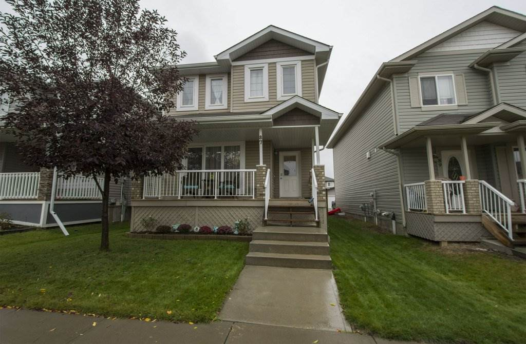 Immaculate open concept home with 3 bedrooms, 3 bathrooms and a FINISHED BASEMENT. Located in Spruce Village, only walking distance away from Jubilee Park, Spruce Grove's and the entire surrounding areas best park, by far. This cozy 2 story features hardwood floors, blinds, a kitchen side pantry and black appliances. The spacious master bedroom is large enough for king size bed, it also comes with a walk-in closet. The property includes a private concrete parking pad, which could also be used as the foundation for a future garage. The homes backyard faces west for sunny evenings and the front features a private traditional covered veranda for sunny mornings or escaping the sun on hot days.