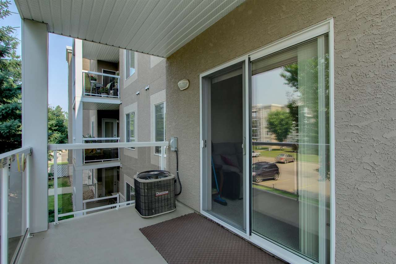 The covered balcony is where you will find the central air unit and there is a gas outlet for a bar b que if you wish.