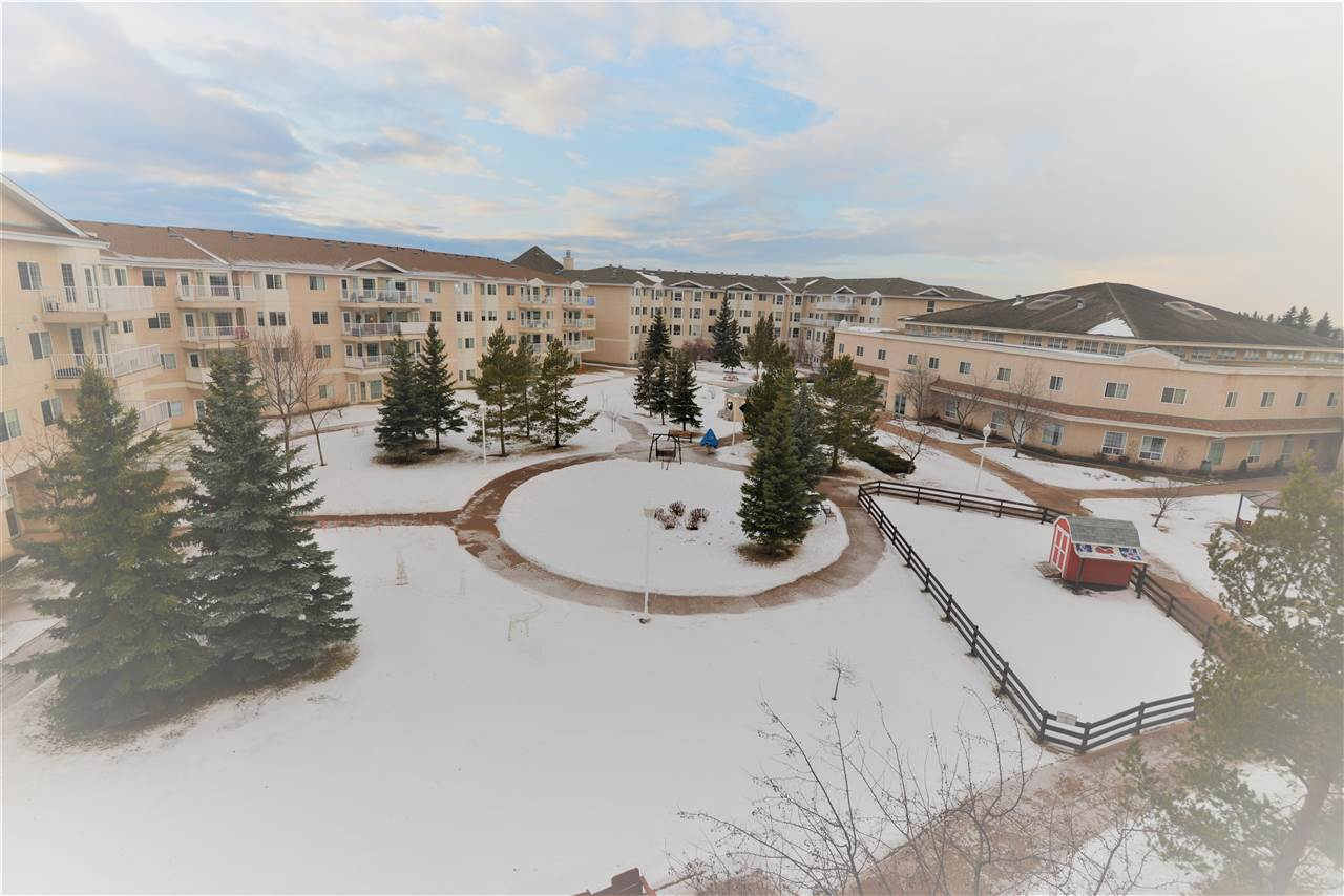 """Are you 55+ and looking for carefree retirement living...then take a look at this opportunity!! Absolutely beautiful, very spacious, top floor 1 bedroom suite with west facing view of interior COURTYARD GARDEN. Shows beautifully with its open concept living area and comfortable bedroom.  The bathroom comes complete with a gorgeous """"no-step"""" walk-in shower! You will love the huge """"eat-in"""" kitchen and very large living room area that is flooded with sunlight throughout the year. The courtyard view in this lovely one bedroom condo is second to none in the complex. Shepherd's Place retirement condos are among the cities best with many amenities. Some of these included a full-service dining room wellness centre, pharmacy, doctors on site, graduated care, beauty salon, gift shop, a Chapel, a petting zoo in the Summer and more. This unit has six appliances, extra cabinets in the kitchen, and in suite laundry."""