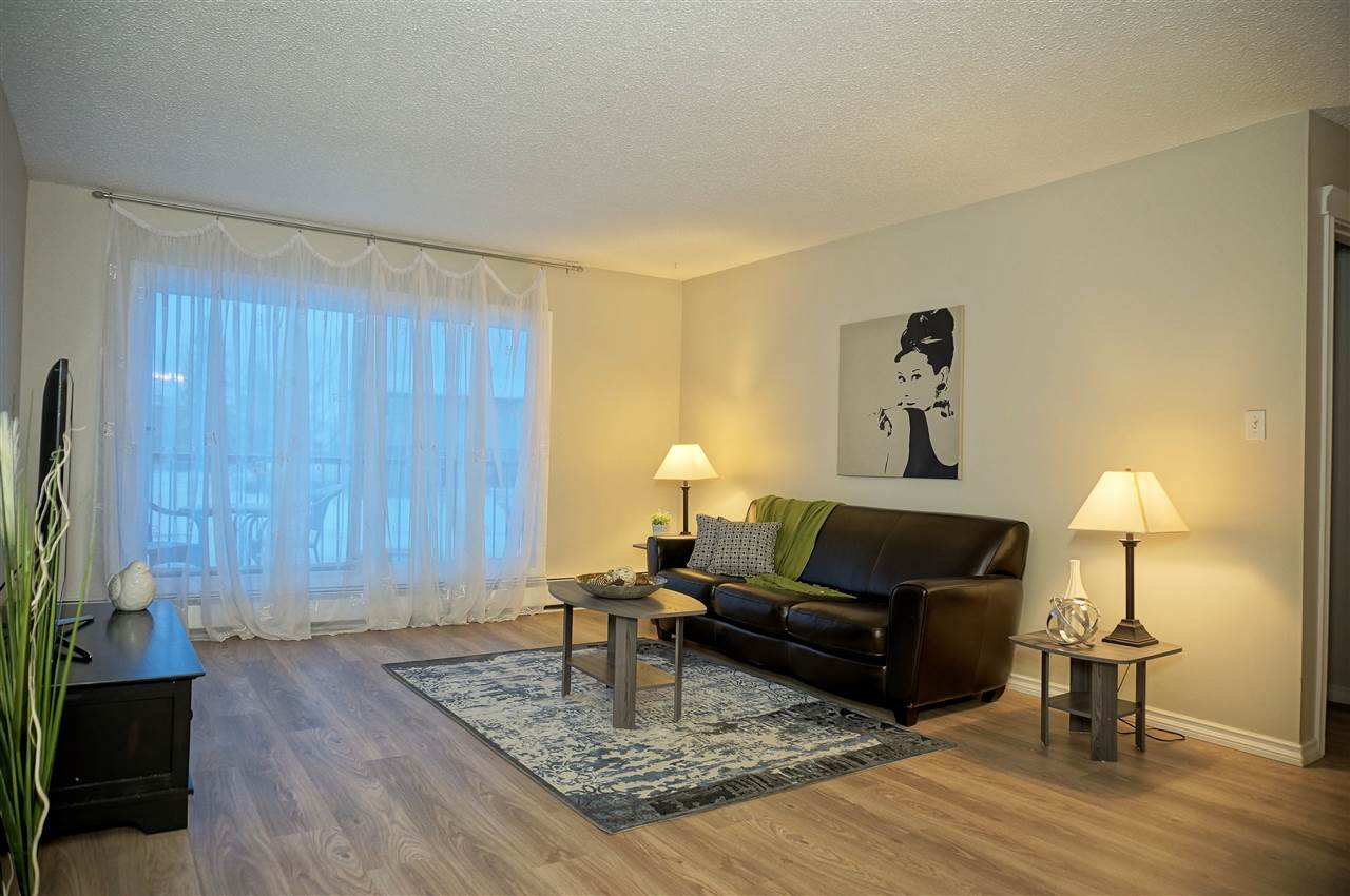 """IMMACULATE & FULLY RENOVATED & 18+!  Don't miss your chance to own this 623 sq.ft.  2nd floor one bedroom in the well-cared for """"Plaza 2000"""" condo complex!  This unit boasts: upgraded bright-white galley kitchen, accommodating dining area, bright/spacious living room which opens onto a west-facing balcony, generous bedroom, and 4pc bath with extra cabinetry.  Other features are: newer windows, patio door, roof, in-unit storage room, same floor laundry, and an assigned/energized parking stall.  All utilities included.  Nearby:  Save-On-Foods, Shoppers, Timmies, YMCA, schools, and public transport.  MOVE IN READY & QUICK POSSESSION!"""