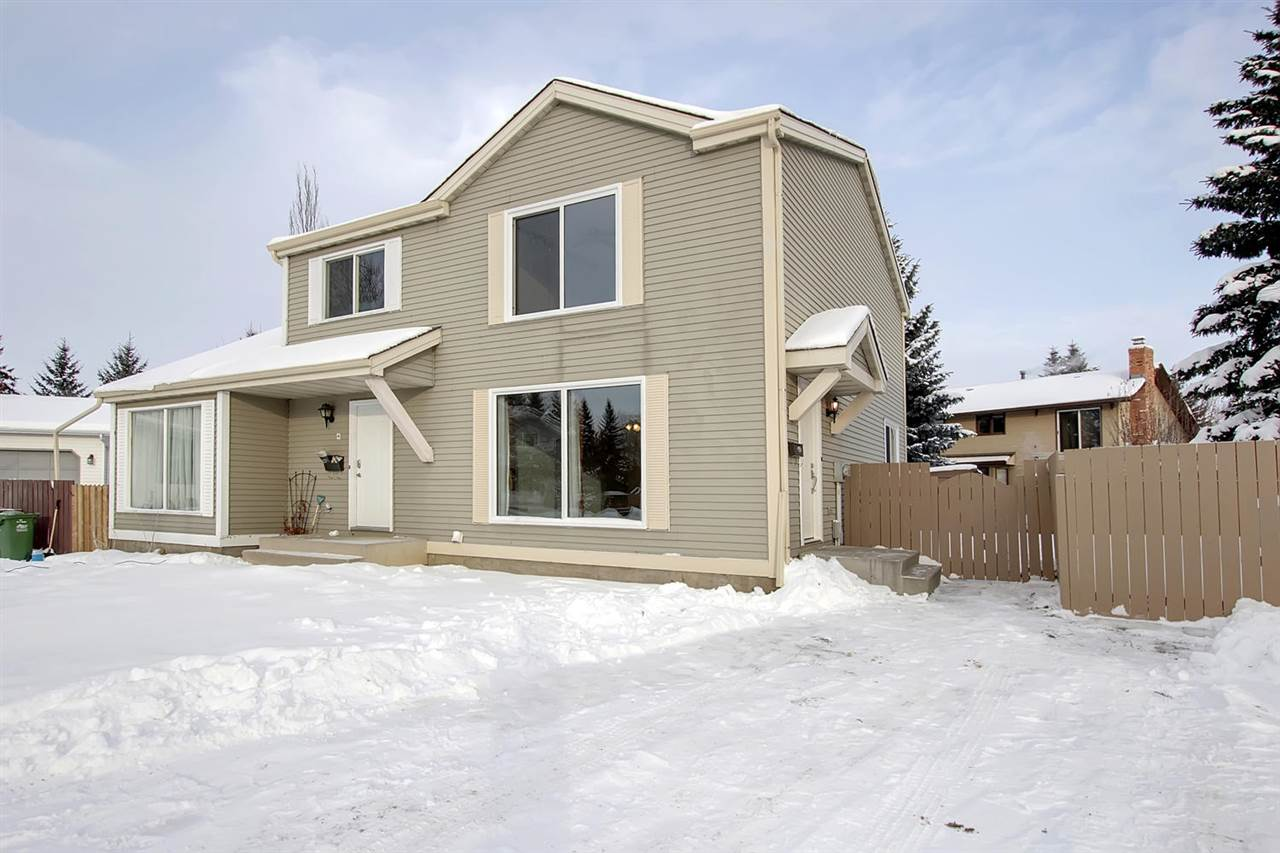 SIMPLY THE BEST VALUED HOME IN ST. ALBERT TODAY! Incredible opportunity for investors, first time buyers or a growing family. Nestled on a quiet cul-de-sac in the heart of Woodlands surrounded by schools, parks, shops, transit and more, stands this wonderfully UPGRADED 2 storey home. 4 bedrooms, 2 bathrooms and a fully finished basement. Numerous recent renovations include; BRAND NEW WINDOWS and DOORS, new ROOF in 2017, new fence, new carpet, new kitchen counters, new bathroom fixtures, new front lawn, new hot water tank 2015, new furnace motor and fresh paint throughout.  HUGE pie shaped lot with potential for garage. Fantastic floor plan. Enter through the brand new front door on to character HARDWOOD flooring in the generous living and dining room. A large eat in kitchen and a 2 piece bathroom finishes off the main floor. Hardwood steps take you upstairs to 3 bedrooms and a full 4 piece bath. The basement offers a 4th bedroom, family room and laundry.   Incredible value!