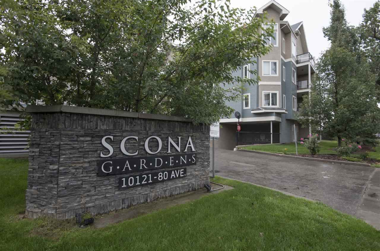 Yes size does matter when it comes to condos and this condo in Scona Gardens delivers & if location is important; Whyte Ave, direct access to UofA, Downtown, River Valley, the excitement of Old Strathcona with markets, restaurants, shopping, festivals, theater and yet it's tucked away in a private quiet corner? whew it delivers! This spacious (registered condo size 955 sqft) 2 bdm/2 bth has  a roomy foyer and a welcoming kitchen & features granite, lots of prep space, plenty of cupboards, breakfast bar & separate dinning nook. The bright living room offers a corner fireplace & access to a large balcony with gas line + a view of the splendid treeline. Master is impressively large with ensuite bth, an equally spacious bdrm, 4 pce bth and in-suite laundry with storage rounds out this home. Perks of underground secured parking, storage, wash bay, well equipped gym, guest suite, bike storage & underground secured visitor parking. Awesome grounds+lots of trees+fire retardant construction. Love Where You Live...