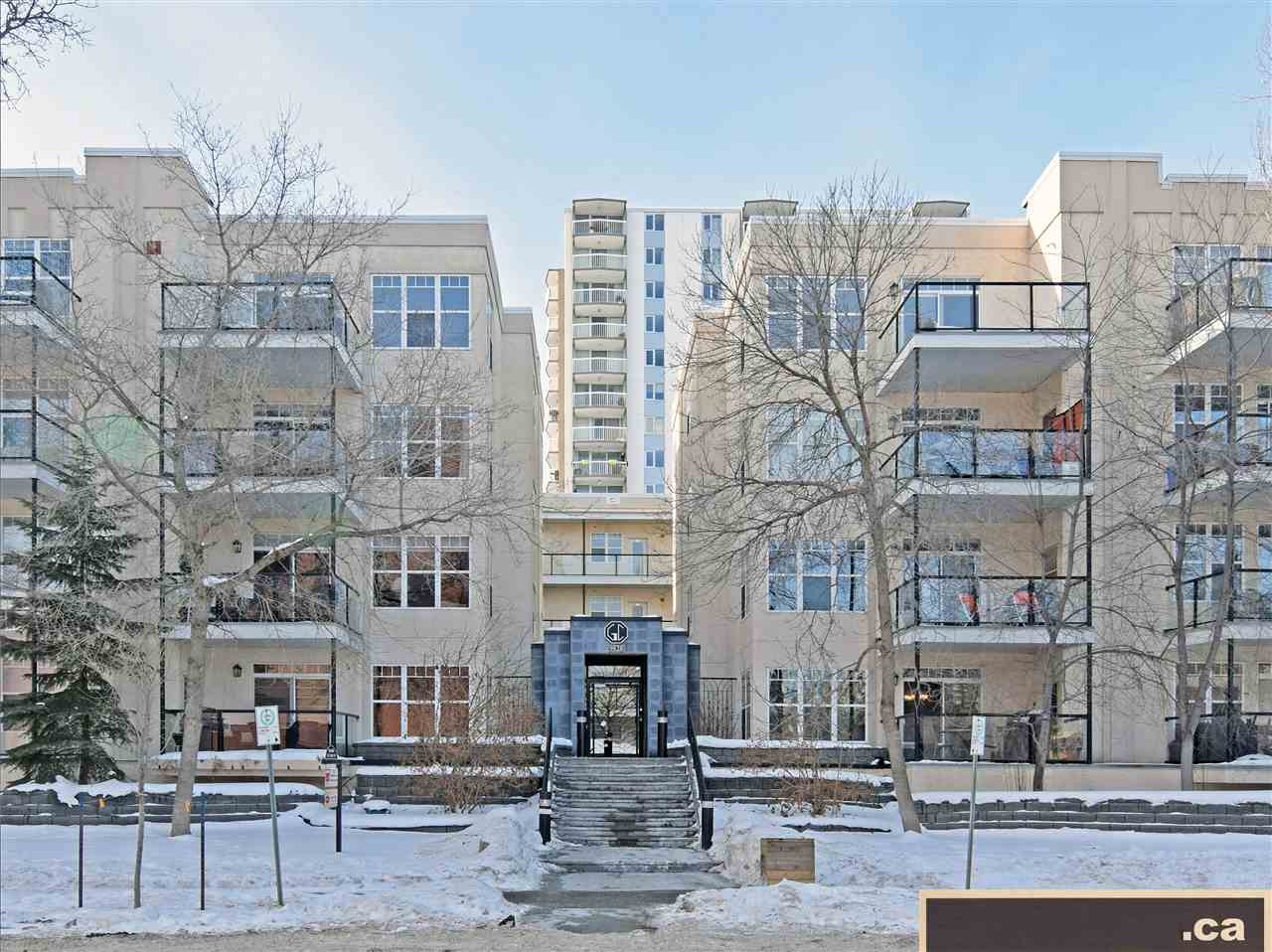PRESENTING GRANDIN COURT: A TRENDY 2001-BUILT COMPLEX IN OLIVER WITHIN VERY CLOSE PROXIMITY TO EDMONTON'S PICTURESQUE RIVER VALLEY! Excellent condition main level unit features open concept living / dining / kitchen areas; hardwood flooring and new painting throughout; new countertops; electric fireplace; bright and open master bedroom with TV wall mount and walk-in closet; sizeable 4-piece main bath; and nice 11' x 9' covered balcony (E / SE exposure) with stainless steel barbecue and natural gas hookup. Unit comes complete with in-suite laundry; air conditioning; fire sprinklers; alarm system; and titled underground heated parking with storage cage. Prime Central Location within walking or biking distance to Grandin LRT Station; Jasper Avenue; Downtown; MacEwan University; Rogers Place; City Hall; High Level Bridge; Victoria Park; River Valley Road; Kinsmen; Victoria GC and Royal Mayfair GC; and University of Alberta. Flexible Possession!!
