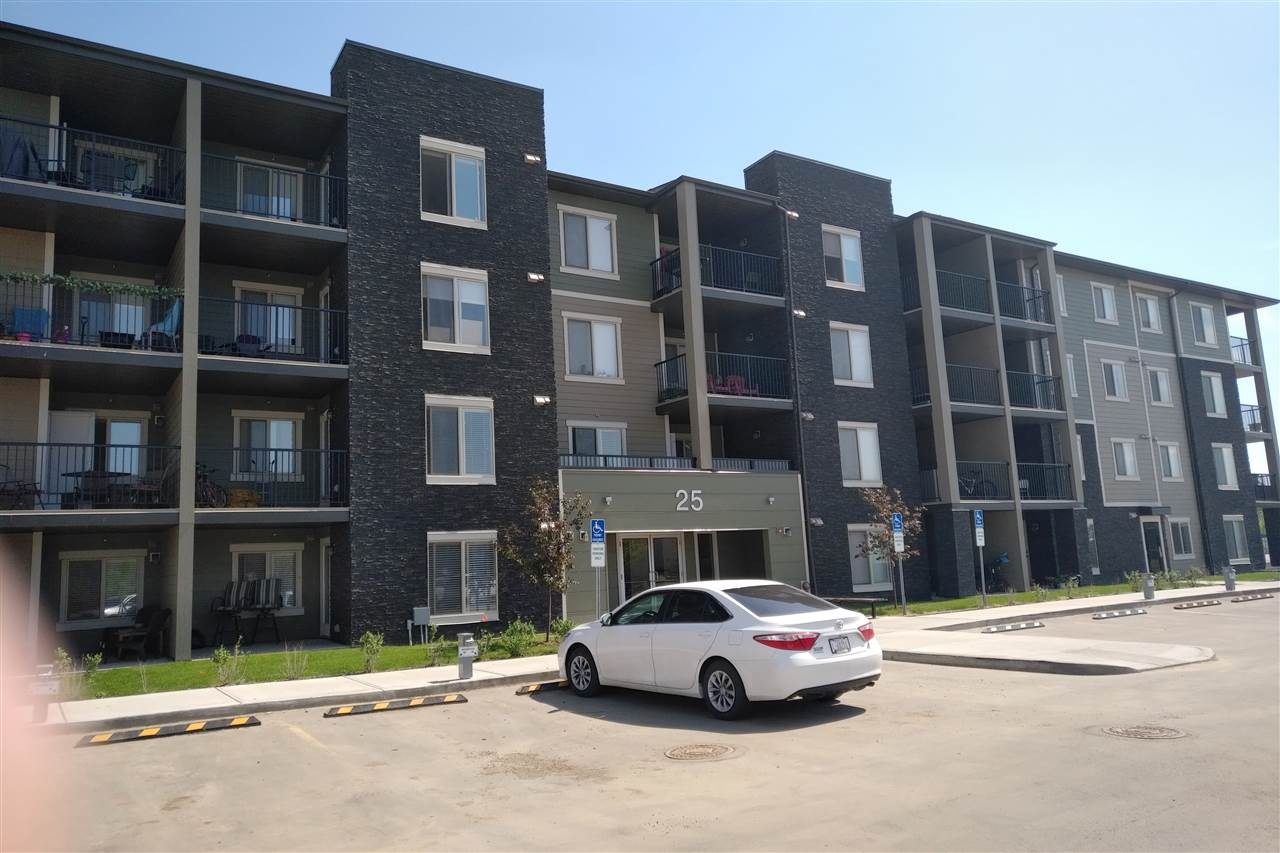 Welcome to this 2 bedroom top floor in St. Albert's Erin Ridge. The Q2 floor plan comes with 1 assigned surface stall and includes upgraded stainless steel kitchen appliances and front load washer and dryer. This unit features a spacious living room that opens to a balcony, plenty of windows allowing lots of sunshine, 2 spacious bedrooms, master bedroom with full 4 piece bath. Kitchen features upgraded cabinets and granite counter tops. Do not let the square footage fool you this home is well laid out and is big in design. Conveniently located to new amenities, schools, shopping, transportation, and easy access to Anthony Henday.