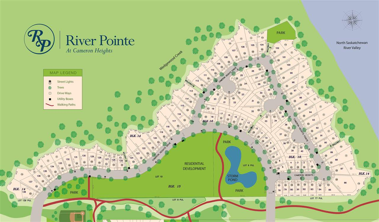 RIVER LIVING at its FINEST - River Pointe at Cameron Heights - Choose ANY builder you like!  Lot 124 features a 50 FT build pocket to build your dream home overlooking the North Saskatchewan River. Located minutes from the Currents of Windermere, schools, the International Airport and many other amenities - yet private and serene with walking trails and parks nearby.