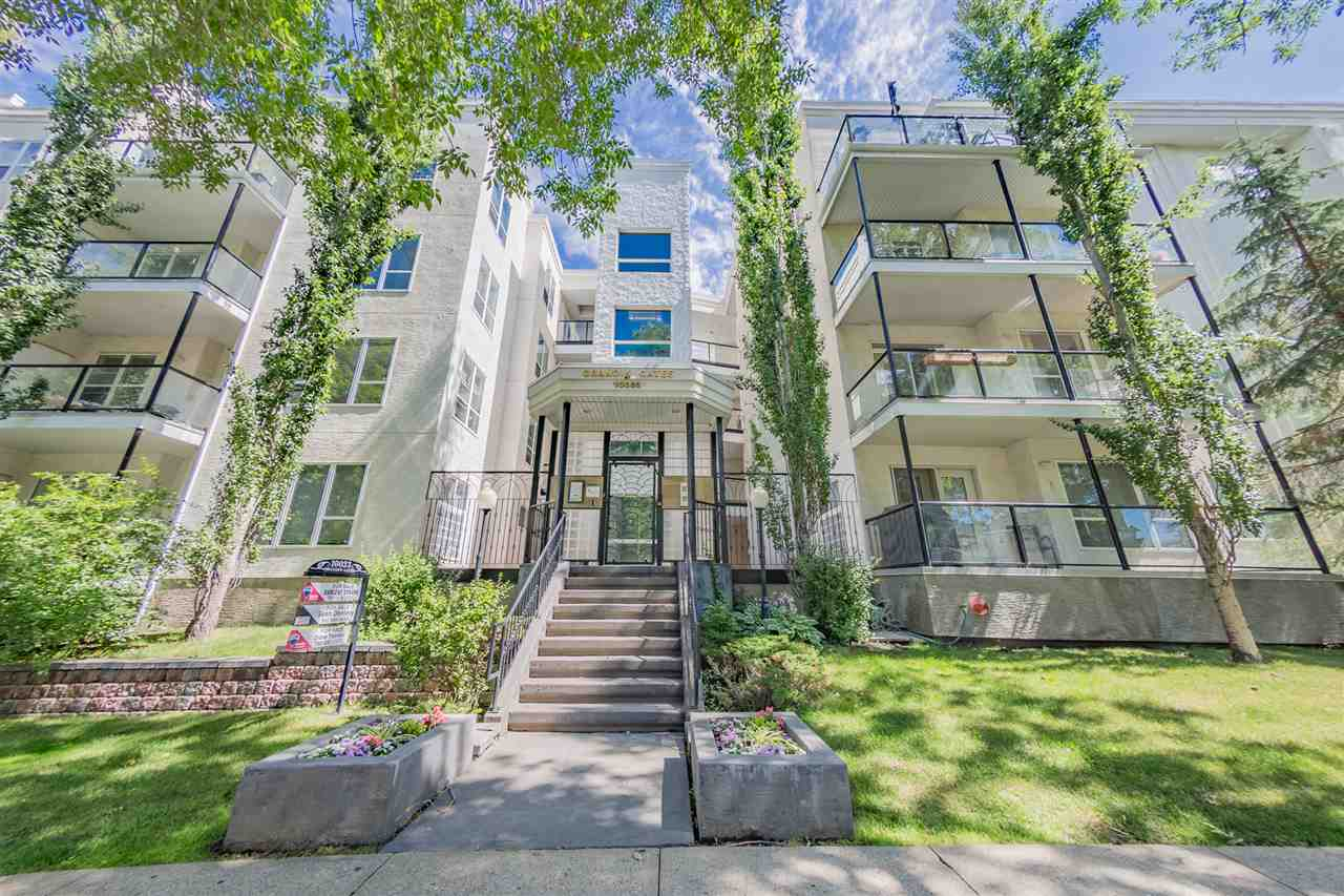 LOCATION LOCATION LOCATION this condo has it all, as it is just 2 Blocks from GRANDIN LRT station, 1 Block from 109 STREET, easy access to the High level bridge & RIVER VALLEY, MCEWAN is 5 blocks away, close to ROGERS PLACE. TOP FLOOR UNIT in the desirable community of OLIVER, backs onto WALKING TRAILS and is sought after for LOCATION in the HEART of DOWNTOWN. This home offers NEW APPLIANCES, NEW PAINT, NEW CARPET, NEW LIGHTS, NEW HARDWARE, NEW DUAL FLUSH TOILET, and NEW WASHER & DRYER (all less than year). Large kitchen with NEW SLATE APPLIANCES, lots of cupboard space and room to add a custom island. ELECTRIC FIREPLACE provides heat, and invites you to sit and curl up next to the fire with a book in hand.  BALCONY is HUGE and overlooks trails with room for a table, and GAS BBQ hook-up. 2 large bedrooms one with a WIC, just down the hall you will find the full bath. FEATURES of this condo are the, HEATED UNDERGOUND PARKING, STORAGE CAGE, INSUITE LAUNDRY, A/C, and in-suite STORAGE.