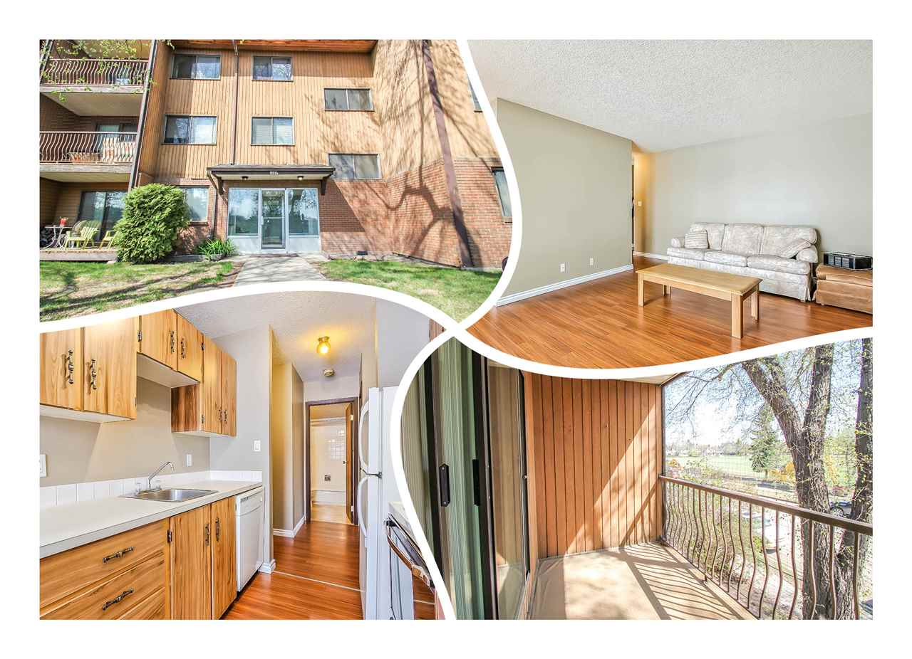 Strathearn condo, 2nd floor, amazing VALUE! UPGRADED paint, baseboards, wide plank laminate and light fixtures. Enjoy your morning coffee on the COVERED, south facing deck. The floor plan has a GREAT LAYOUT, perfect for student or first time buyer! Walking distance to schools, parks, Edmonton Ski Club, RIVER VALLEY walking & biking trails plus public transit is right outside your front door! PET friendly with low, low condo fees! IN-SUITE STORAGE and more! Move in Ready! The BEST VALUE in the building!