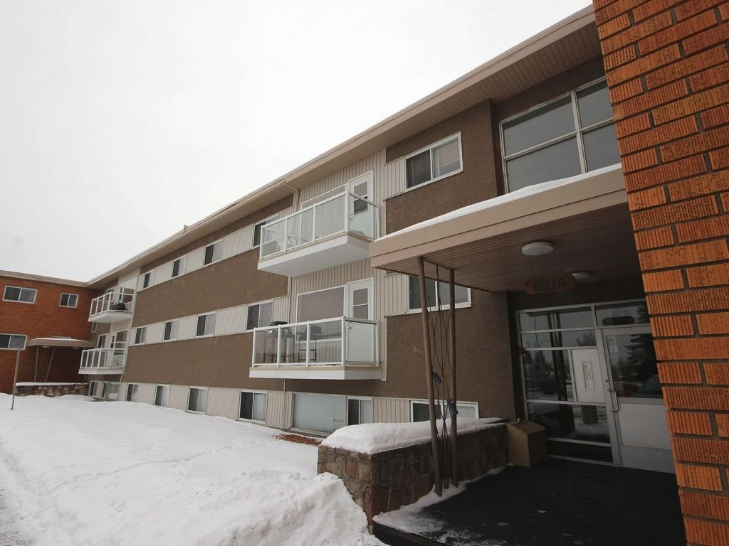 Spacious 2-bedroom condo in a convenient location, with a shopping mall, supermarkets, Hardisty pool and gym nearby. Close to Goldbar park and valley trails. Central location - only 10 minutes from downtown. Close to ETS hub - direct transportation to the University of Alberta, Whyte Avenue and West Edmonton Mall. The condo was recently renovated and freshly painted. A lot of kitchen counter space and large pantry cabinets. New hardwood laminate flooring in bedrooms, vinyl tile in the kitchen - ready for move in. The condo also has a fairly large storage room and a hallway closet. Venetian blinds in all rooms. Secured parking stall with an electrical outlet. *This unit is below grade*