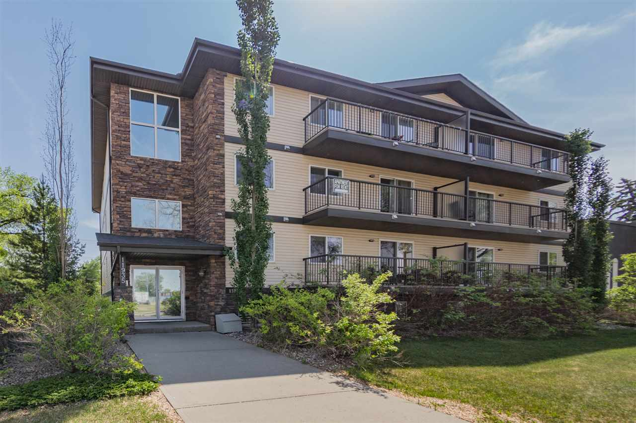 Fantastic LOCATION for this great home! Walking distance to NAIT, Kingsway, ROYAL ALEX HOSPITAL and LRT. This 2 bedroom suite comes with all appliances, all window coverings, plenty of cabinets, ceramic tile and NEW PLUSH CARPET flooring. With a spacious open concept design, HUGE PATIO doors and BIG BALCONY. Enjoy the full 4pc bathroom with stacked WASHER/DRYER inside your unit. The Dinette will easily accommodate a 5 pc set. The main room or bedroom has lots of NATURAL LIGHT and plenty of room for a bed and desk. PARKING STALL is out back in the lot, but who needs a stall when you are this close to CAMPUS? Park your car and drive home on the weekends for those family visits. Just a short walk to NAIT, LRT station, and KINGSWAY GARDEN MALL. With the convenience of being steps away from the LRT Station, commuting around the City will be a breeze. Visit ?Realtors? website for more details.