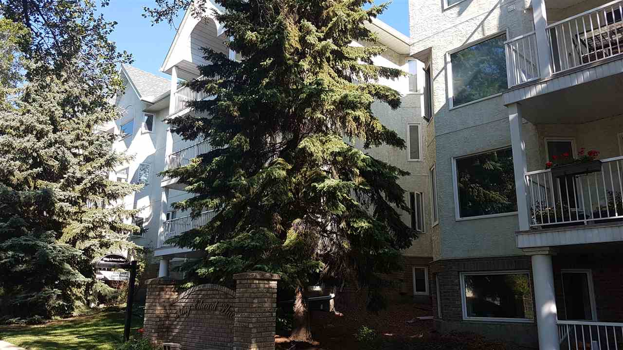 Prime location on major bus routes!  Perfect for post secondary students, buses to U of A and easy bus access downtown too.  2 blocks to Whyte ave and easy walk to ravines and river valley.  This corner unit has 2 bedroms and 2 bathrooms, and is a great layout for roommates.  Very bright unit with many windows facing south. The south facing balcony has room for a bbq and overlooks mature trees.  The cook in the family will enjoy the island kitchen with ample cabinets and counter space and it is nicely equipped with black appliances.  Other features include: Luxury Vinyl Plank flooring, corner gas fireplace, master bedroom with walk in closet and full ensuite, storage/laundry room, visitor parking, and assigned carport parking stall.  Ample storage within the suite including a pantry.  Well run adult building (18 plus), sorry no pets allowed.