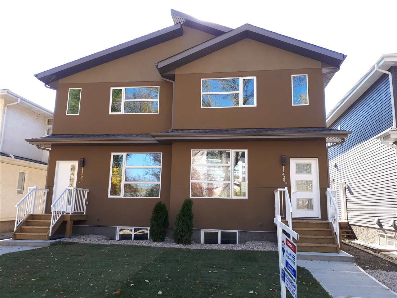 "Convenience at your doorstep! Steps from University Ave, UofA campus & McKernan/Belgravia station. Brand new, over 2000sqft of total living space on 3 levels w/double garage. 5 Bedrooms & 3.5 bathrooms. Acrylic stucco, engineered hardwood, porcelain tile, glass railings, modern gas fireplace, 8' doors on main & neutral tones throughout. Open layout w/spacious versatile dual living areas & full dining. Kitchen features 42"" full height upper cabinets in European designer finish, quartz countertops (throughout) & stainless steel appliances. Power room, laundry & access to yard complete main floor. Upper level showcases master bedroom w/5 piece ensuite & walkin closet, 2 additional bedrooms & 4pc bath. Fully finished lower level is perfect for investment or extended guest stays with bedrooms 4 & 5 as well as a rec area & full 4pc bathroom. Other notables: triple glazed windows, A/C, upgraded insulation, LED light fixtures, separate entrance to basement, alarm system & front landscaping. Both units for sale."