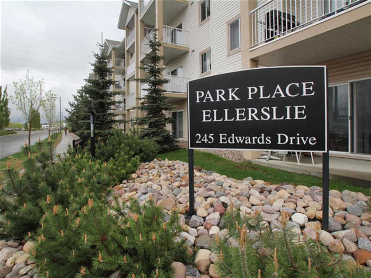 Perfect buy with the best priced unit in Park Place Ellerslie! This excellent complex has been well maintained, and is situated perfectly near all amenities including schools, shopping, public transportation, and just a quick trip away from the Edmonton International Airport and Mall. Enjoy maintenance free living and not having to worry about grass or snow with this 1 bedroom, 1 bathroom, ground floor condo, that has a parking stall for your convenience. This unit is perfect for a student, professional, or someone who is always on the go with a spacious floor plan for them to enjoy working/studying in, or some-where to call home while they are out and about travelling the world. Enjoy a modern kitchen, in-suite laundry, visitor parking, and patio to lounge on in the summer months. Do not miss out.