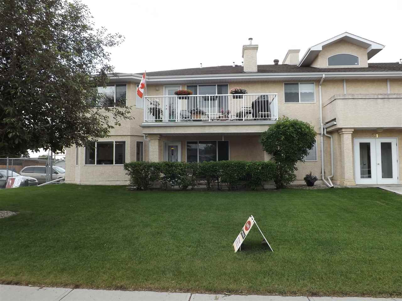 Bright, Open, 2 bedroom, 55+ Adult low rise apartment, handicapped accessible with a single detached garage. Featuring newer carpeting, recent painting, laminate flooring, a bright open eat in country kitchen with lots of counter space, 5 appliances, a bay window,  spacious living room & a garden door out to a covered patio. There is also a large laundry room with cabinets, 4 pc. main bath, an oversized master bedroom with a walk-in closet & 3 pc. ensuite, and a second bedroom with double closets. Great central location close to parks, walking trails & all amenities. Just Move in & Enjoy!!!