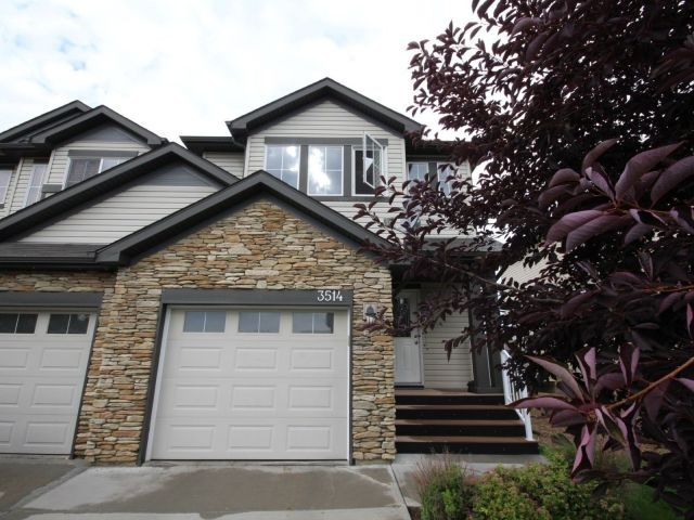 Beautiful 2 storey half duplex, Pet and Smoke free house, 1st owner, in community of Tamarack. Great for small family with children to enjoy landscaped big backyard and front yard, Five minutes walk to school K-9, couple minutes drive to all major grocery stores, gym, banks and Anthony Henday. Upgraded Front entrance door, kitchen raised eating bar. Half washroom at main floor, Gas Fireplace in living room, patio door leading to Composite low maintenance Deck, on second floor spacious master bedroom with 4 piece ensuite, Bonus room, two additional Bedrooms and main full bath. Basement is fully finished with half washroom, under staircase storage space and stacked washer/dryer.