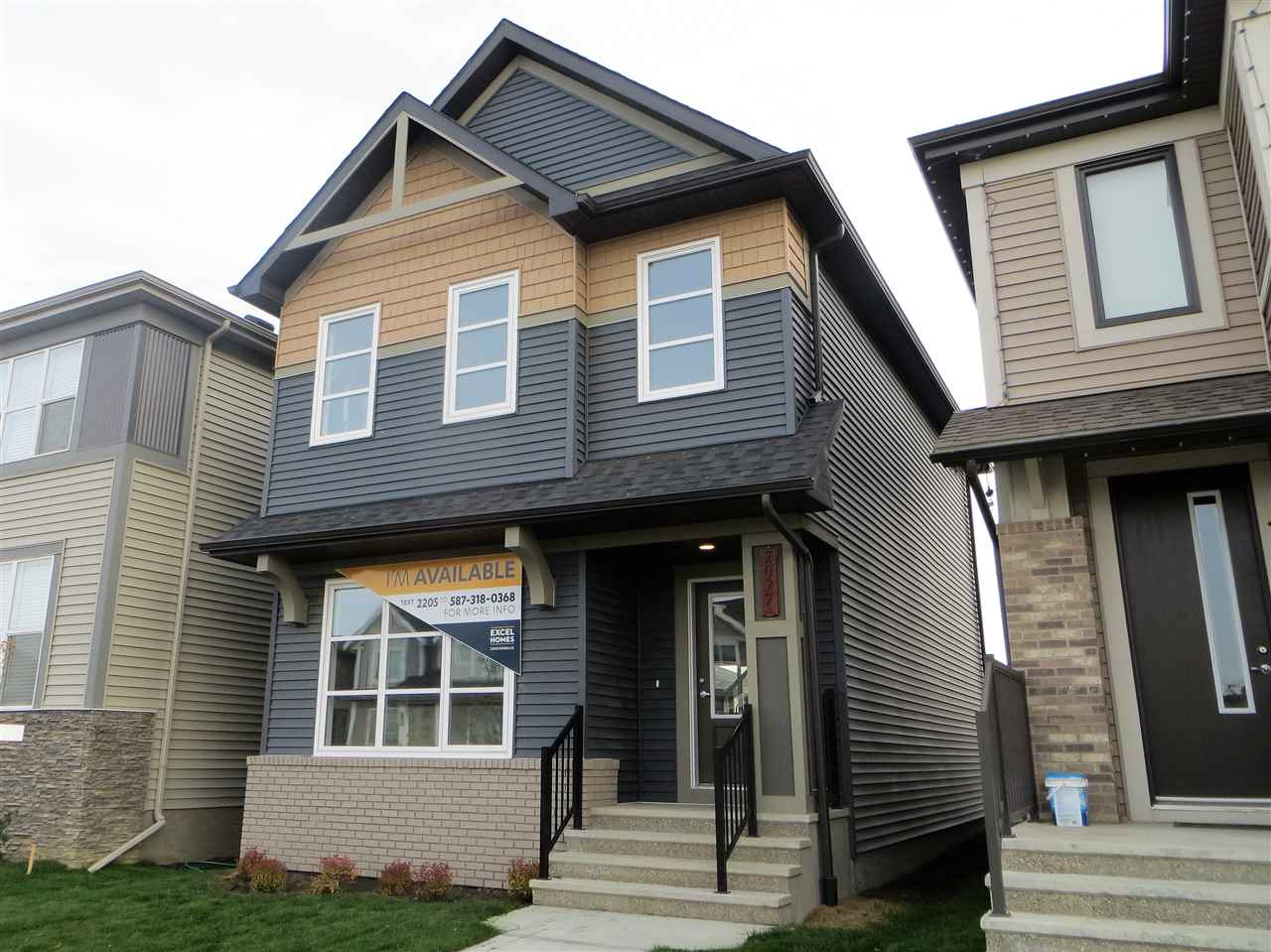 New 1420 square foot home with immediate possession!  9 foot ceilings on the main welcomes you into this upgraded home. The kitchen features Ash cabinetry with dark stain, pot and pans drawers, engineered stone counters of course, pot lights pantry, crown moulding and nicely equipped with stainless steel appliances.  Main floor features warm grey laminate floors, tile flooring and gas fireplace. The upper level has 3 bedrooms including the master bedroom with walk in closet and full ensuite. Laundry area is also on the upper level for added convenience. Landscaping includes sod in front yard, back yard includes topsoil and concrete pad for parking plus gas line for bbq.