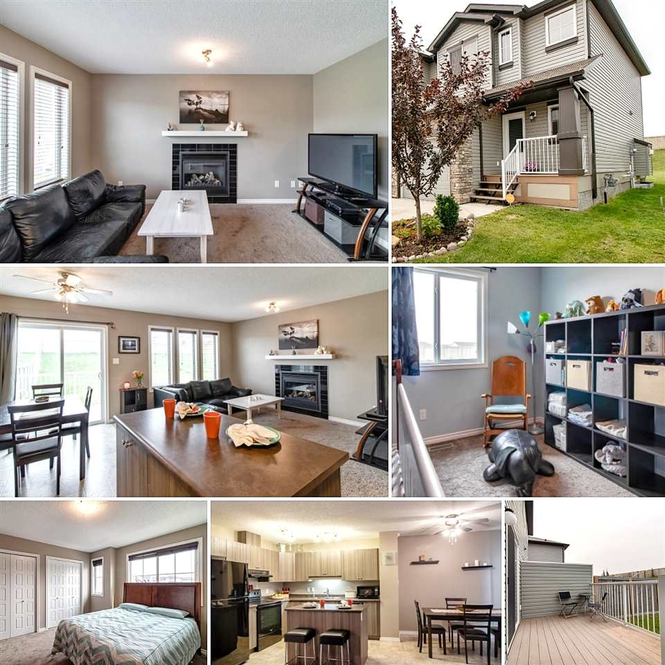 Most affordable single family home in Maple!  This lovingly-maintained, two-story half duplex in south east Edmonton is so welcoming from the moment you walk in!  The big windows in the open concept kitchen/living/dining area bring lots of natural light and brightness to the space.  Modern cupboards, sleek black appliances, eating island and gas fireplace create a look of elegance and comfort.  The sliding glass doors off the dining area lead to a deck and a yard that is both large and very private.  Closets, access to the single car garage and a powder room finish off the first level.  Upstairs you will find the master bedroom and two additional bedrooms that are very spacious for a house this style.  Again, closets and a four-piece main bath finish off the 2nd floor.  The basement houses the laundry area and is unfinished - it is just waiting your own special design.  Great value in this house!!  One not to be missed!!