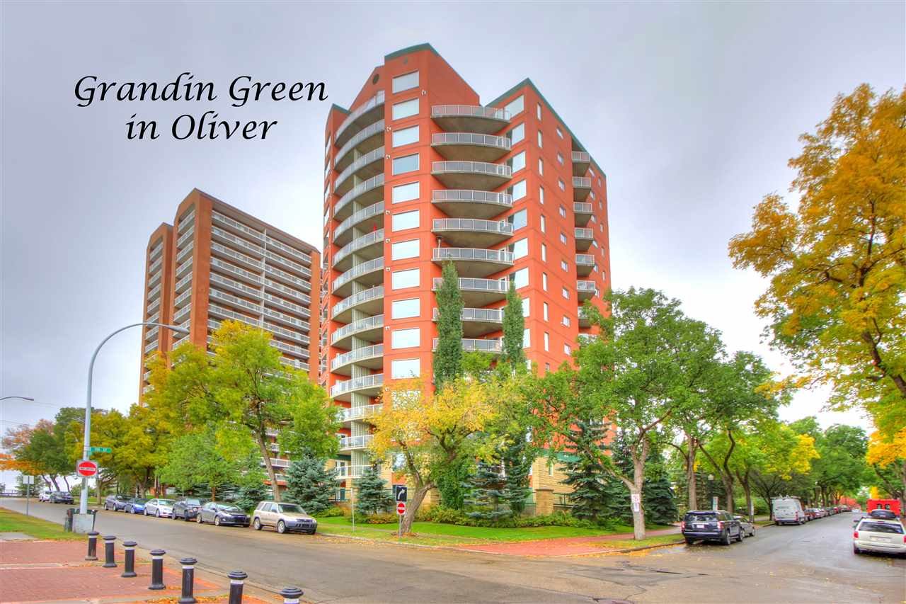 What an outstanding location just steps to the park, river valley, LRT, local coffee shop, & only minutes to the Ice District & U of A. Welcome to Grandin Green, one of the first multi-unit residential buildings constructed in Canada to incorporate many innovations designed to reduce energy & water consumption & to enhance the indoor environment. This 1151 sqft condo has one BDRM w/a huge 4-piece ensuite, a den complete w/Murphy bed & B-I cabinetry, the spacious kitchen & dining rooms, a 2-piece powder room, the laundry with extra storage & the living room w/a huge picture window & gorgeous view of the High Level Bridge & River Valley. This PET FRIENDLY, NO AGE RESTRICTED unit features a newly renovated front lobby, insuite laundry, one underground parking stall, storage locker & a gas fireplace & BBQ outlet. Amenities include A/C, a guest suite, workout facility, party room, library, car wash & visitor parking. With great value & found in an exceptional location this property is a must to view!!