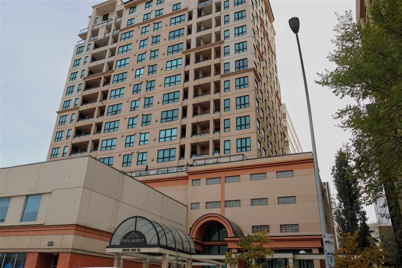 Live in the Heart of  Downtown!! This well maintained 2 bedroom, 2 bath condo is just minutes away from the river valley, the University of Alberta & Hospital. The open concept floor plan offers you 850 sq.ft. with in-suite laundry. The gorgeous kitchen has oak cabinets, Large eating bar and Stainless steel appliances. With a nice size living room and gas fire place its ideal for those relaxing evening.This 10th floor corner unit offers a number of windows, central heat & air conditioning. Nice size balcony with gas line for all your barbecuing with an amazing west view. The Master bedroom has a 4-piece en-suite and the 2nd bathroom is a 3 piece with shower.The Parliament is close to all amenities in Edmonton's downtown including LRT, Grant MacEwan,, Jasper Ave, Ice District and many great restaurants There are 2 TITLED UNDERGROUND PARKING STALLS  and a Fully equipped work out gym. Act today to capitalize on Edmonton's growing & vibrant downtown core,