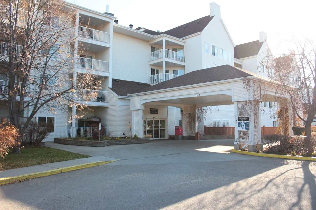 Enjoy condo living in this 50+ condo complex in the heart of St.Albert close to many great amenities. This 648 sqft 2nd floor unit has an open floor plan with a spacious kitchen with ample cupboard space and an eat up bar plus a large living room leading out to the covered deck. There is a bright master bedroom; a 4 pce bathroom & a large storage room with INSUITE LAUNDRY. This complex has so much to offer from the craft room, exercise room, library, games room, workshop, multi-media room, guest rooms and much more!  Condo fees INCLUDE electricity, heat, water & sewer! On site administrator from Monday - Friday. Beautiful pond and gardens outside the complex. So much to offer that you never have to leave!!