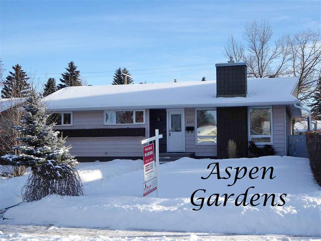 "An Aspen Gardens Beauty!! Found on a quiet street in the heart of this family friendly neighborhood this 1281sq ft 3+1 BDRM bungalow has it all, lots of upgrades & stylish finishings. The main floor includes an elegant living room with a gas FP flanked by large windows, the dining room, a convenient desk area just off the kitchen, three BDRMS & a beautifully updated 4-piece bathroom. The dream kitchen has an abundance of antique white cabinetry, a breakfast bar, granite countertops & stainless steel appliances. The large master BDRM has a 2-piece bath, walk-in closet & a cute little ""get ready"" area that would also be great for an office. The basement is beautifully laid out with a huge recreation room, a 4th bedroom, a 3 piece bath, the mechanical & a large storage area full of B-I cabinetry. Outside is an oversized aggregate patio, lovely landscaping & a double detached garage with alley access. With excellent access to the Whitemud, shopping & great schools, this exceptional home is a must to view!!"