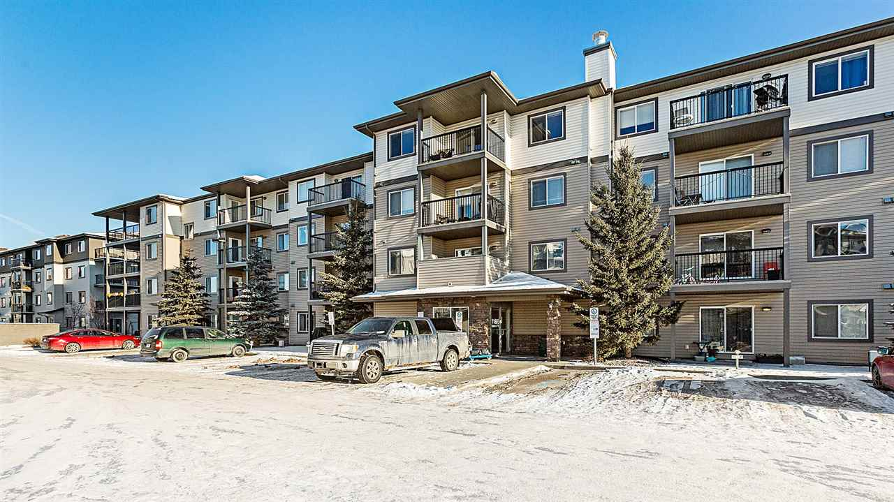 Looking for a place to call your home? Looking to get out of renting and to build some equity? Look no further. This immaculate 826 SqFt, 2 Bedroom/2 Bathroom condo has IN SUITE laundry & is literally steps away from the river valley. Not to mention everything else you need from shopping, schools, public transportation, walking trails, Yellowhead, Anthony Henday & more! This open living space is ideal for entertaining family or friends & large windows give it a bright, warm feel. NEW laminate plank flooring here (& in bedrooms). The kitchen features added cabinets (2014), allowing for more efficient space than other kitchens & an upgraded backsplash. The large master bedroom features a full 4 piece ensuite (with added cabinets) & a spacious walk-through closet. The 2nd full bathroom has added cabinets & is conveniently right around the corner from the 2nd bedroom. Walk out to the patio to enjoy the sun & a BBQ in the summer! The titled parking stall is conveniently only steps from the building entrance