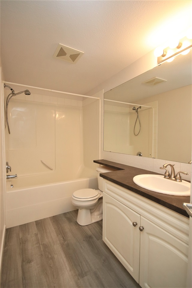 The main washroom features a large vanity with extended countertop and mirror, new faucet, new flooring and a one piece, tub/shower with tile accents.
