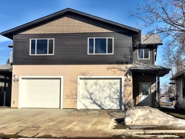 Brand New Home in Mayerthorpe w/ High Efficiency Heating System & Upgraded R60 Foam Insulation. 3 Beds w/ 2.5 Bath, Bonus / Family Rm 13x17' thanks to attached Oversized Single Garage. Garage is 13x22', enabling truck or car parking. XL Lot offers room for a 2nd garage or garage w/ Suite option, back lane access. Super awesome Front Entry, Living Rm leads to your Kitchen. Kitchen sparkles w/ Stainless Steel appliances, Glass Tile Backsplash, Dining Area access to your 10 x 20' deck. Main Flr Laundry & 2pc Bath complete this level. Upstairs are 2 Bedrooms, 4pc Bath & Master Suite w/ 3pc Ensuite, Large Walk In Closet. Seller in process of getting individual Land Titles for each side of duplex.