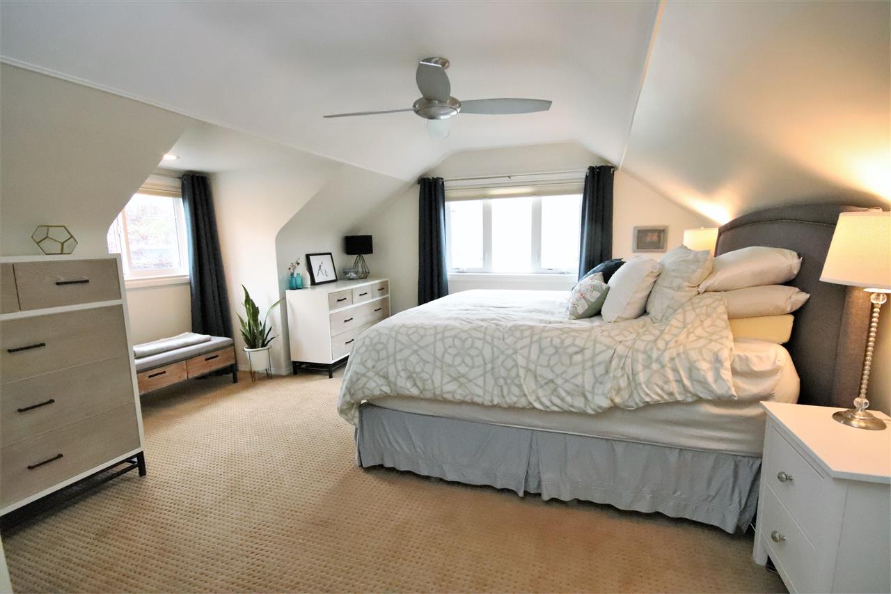 The spacious master features curved ceilings, pot lighting, plush carpet and lots of storage.