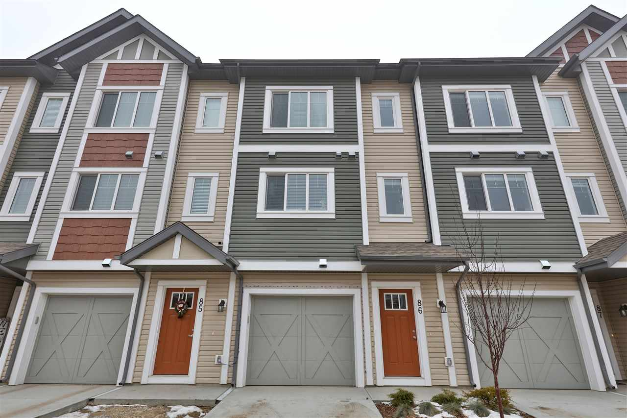 A unique townhouse located in the beautiful new community of Secord. The main floor is an open concept, the kitchen featuring soft close cabinets, tile backsplash and a huge island with quartz counters plus a massive walk in pantry. Stainless Steel appliances are also included. Plenty of space for a large dining table plus a living area with patio doors to a generous sized balcony and a unique flex space, that is great for a work station or play area! Upstairs you'll find 3 spacious bedrooms, the master featuring a 4pc ensuite and a large walk in closet. The lower level features a single garage plus a storage area that could also be developed into living space, along with patio doors to walk out the back. Great area for commutes with quick access to Stony Plain rd, Yellowhead and Anthony Henday. A must see! Other floorplans available as well.