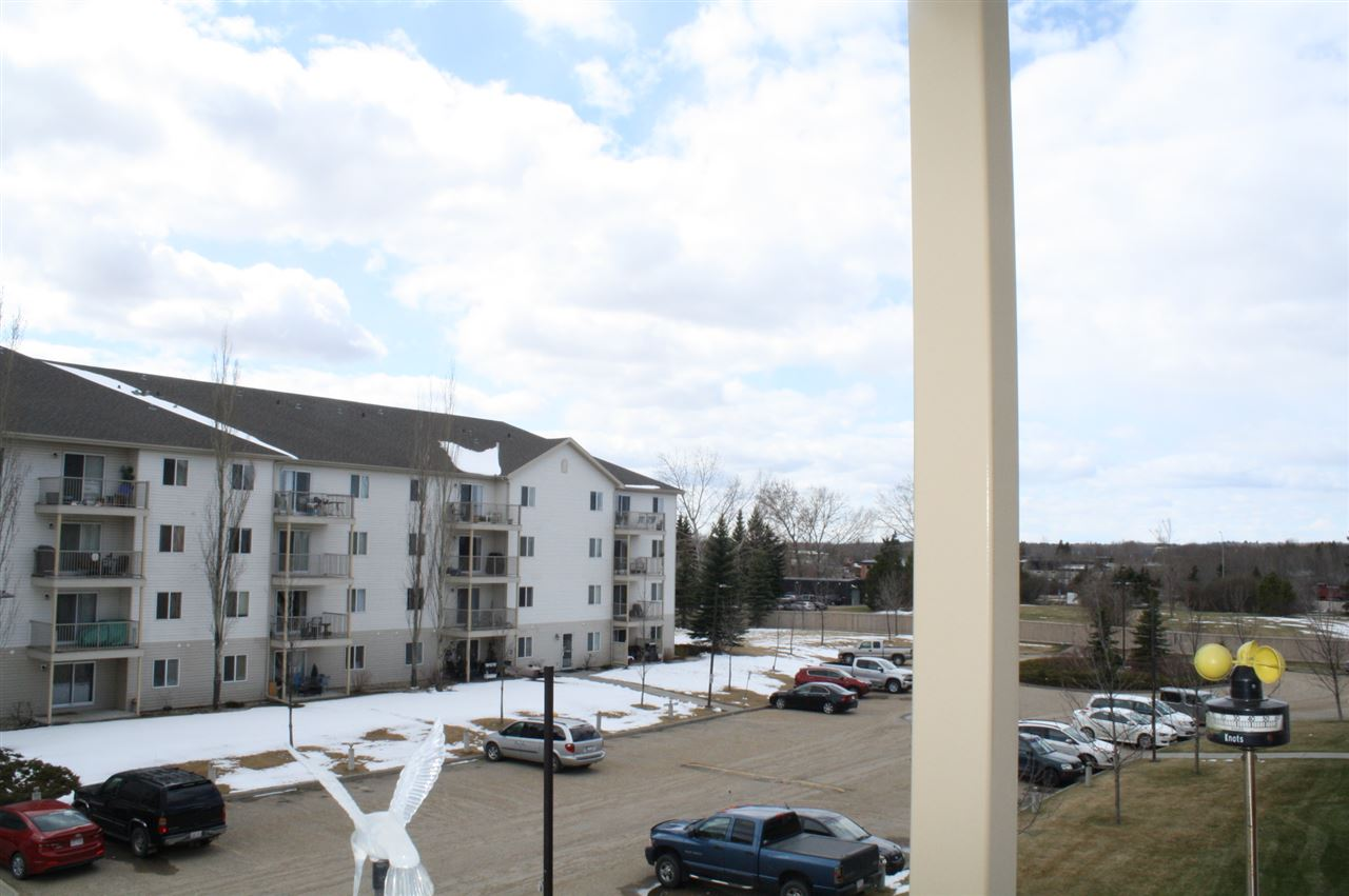 Awesome Adult Living in a Family Setting. You'll love everything about this 3rd floor south facing unit in Stony Plain's Meridian Cove building! This is a great opportunity to own your own home or as an investment! Great location, walking distance to shopping and walking trails, but also close to all major commutes. Loads of natural light greets you the moment you walk in the door of this 840 sq ft bright unit. Open entry with great closet space. Wide open floor plan with great size kitchen and huge living room. Your kitchen features an open feeling and has plenty of prep space. The living room has more than enough space for all your furniture and access to a nice large deck. Master bedroom is HUGE and Walk through closet plus a 4pc ensuite. Head to the other side of this unit for the 2nd bedroom and another 3 pc bathroom. IN SUITE LAUNDRY plus storage is an added bonus! The south facing balcony is a real treat in the summer! UNDERGROUND PARKING is great year round! Wonderful location for walking.