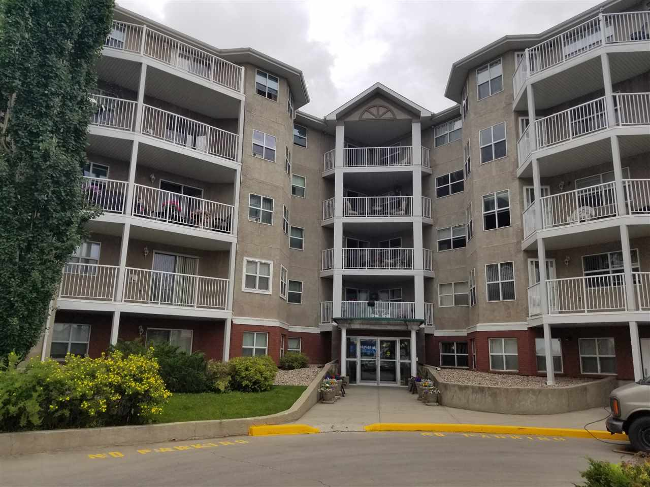 Location, Location, Location! Located across from Bonnie Doon Mall, this top floor unit in 50+ age restricted condominium has it all! The unit features open concept living, large kitchen with plenty of cupboards and counter tops, gas fireplace in living room, south facing balcony (new railings and floor membrane), 2 spacious bedrooms, master bedroom having walk through closet with organizers and 3 piece bath in- suite laundry and large storage room. Freshly paint, newer flooring (about 5 yrs old) and newer appliances (about 5 years old). Titled, secured and heated underground parking (one stall), with extra storage in front. Melrose Court has fantastic amenities including social/ party room with gas fireplace, kitchen, dining, and TV/games area, car wash in parkade and guest suite for visitors! Original owner from when unit was new, no pets, and no smoking. Close to public transit (future LRT), and easy access to main artery roads in Edmonton! Just have to move in and enjoy!