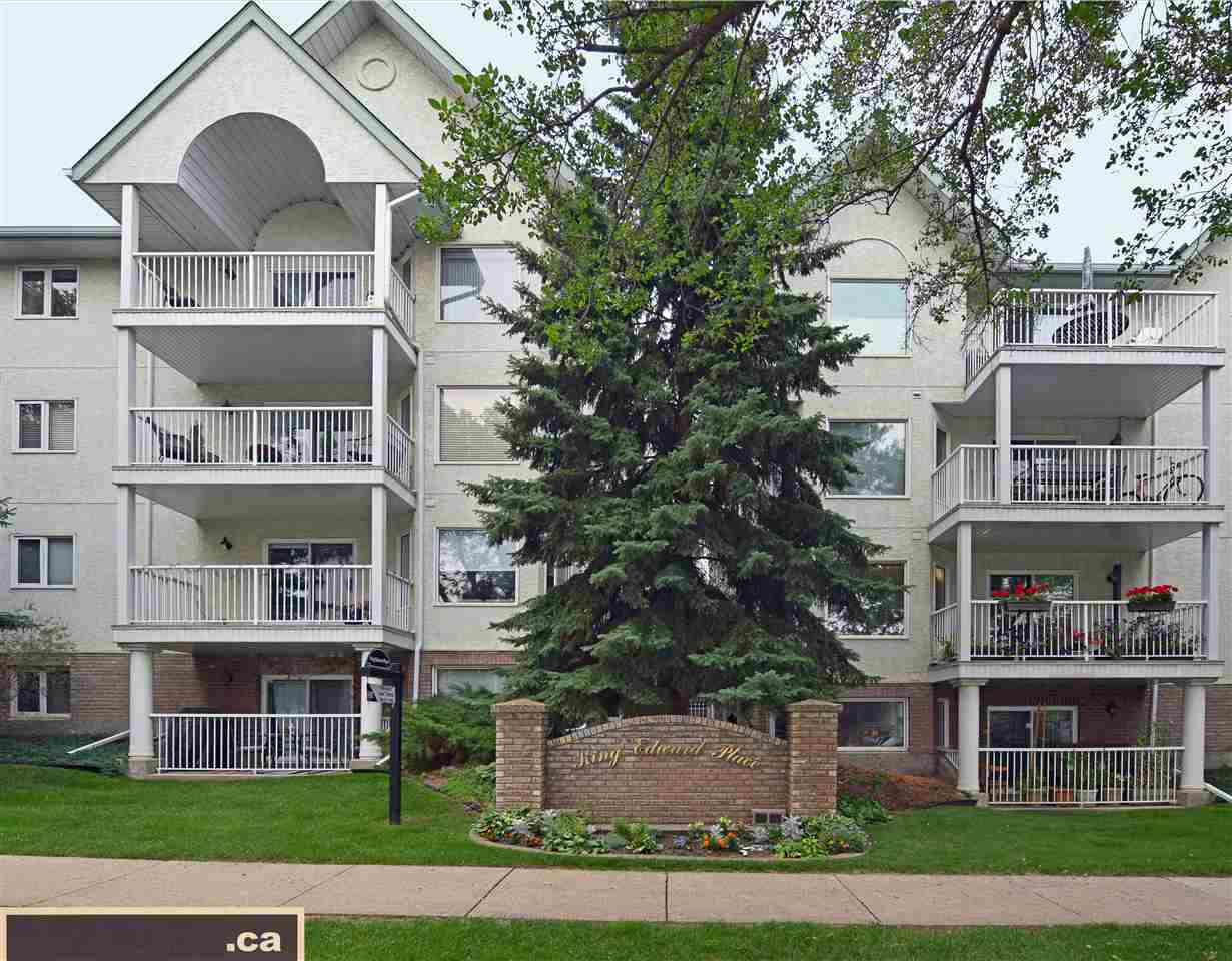 Introducing KING EDWARD PLACE: a well-maintained & well-managed condominium complex with substantial reserve fund and recent upgrades completed to balconies; boilers; and roofing. This fabulous & immaculate main level unit (original owner) features a walk-in closet; en suite bath; in-suite laundry; laminate flooring; gas fireplace; covered parking stall; storage locker; available bike room; & private covered patio for year round use. Recent renovations completed with all new stainless-steel kitchen appliances; granite countertops; updated cabinets; linoleum; & professionally painted. For those nights when you want to relax, enjoy your private covered patio (12.5' long x 9.5' wide x almost 7.5' high), distinctly the largest & most private in the complex! A perfect location to enjoy the laid-back lifestyle of Old Strathcona within walking or biking distance to Whyte Ave.; restaurants; Farmers' Market; University of Alberta; Downtown; & Edmonton's beautiful & picturesque River Valley!!