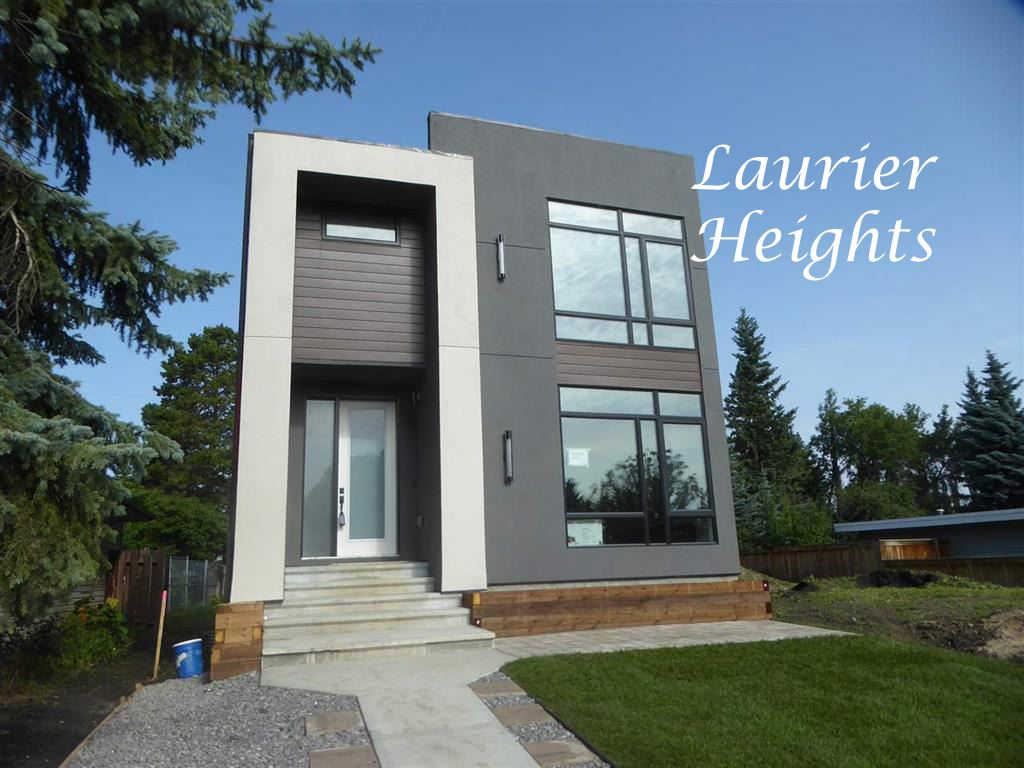 Welcome to this stylish new contemporary two storey in a terrific Laurier Heights location close to great schools, the River Valley and with easy access to Downtown and the U of A!  At 2000 sq ft this home has 9 ft ceilings and oversized windows on all three levels creating bright sunny spaces! The open concept main floor has a unique feature wall with a gas fireplace and built-in shelves, the beautifully designed kitchen with interesting lines and deluxe appliances, a 2-piece guest bath, a generous back entry and sliding door access to the deck. The upper level has the master bedroom with a spa-like ensuite including a soaker tub, oversized shower and walk in closet. There are also two additional bedrooms, a 4-pce bath and the laundry. The fully developed basement has a huge recreation room with a kitchenette and wet bar, two additional bedrooms, a storage room and 4-pce bath.  Included will be unique landscaping both front and back, and a 21 x 21 double detached garage with alley access. A must to view!