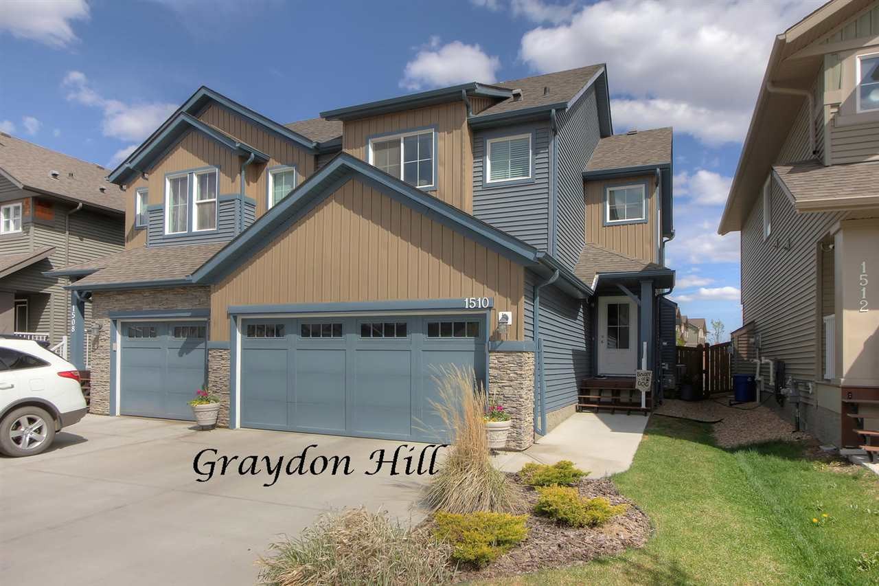 Welcome to Graydon Hill, a new community in the Heritage Valley Neighborhood of SW Edmonton. At 1390sqft this 2-story half duplex built by ?Lincolnberg Master Builder? has it all! The spacious front foyer has access to the large W-I front coat closet, the 2-Pce powder room & the double attached garage. The main floor features an Open Concept floor plan & a lovely feature wall with a contemporary gas fireplace. The kitchen features an abundance of cupboard space, SS appliances & granite counter tops. The dining room has sliding door access to the back deck & fully fenced & beautifully landscaped yard including three garden boxes. The second level has three bedrooms, the master with a 4-piece ensuite & the ?Bonus Room? great for an office or second family room. The basement is very well designed for future development and your personal touches. A/C is included. With quick access to four golf courses and a very short commute to South Edmonton Common and YEG this supper affordable property is a must to view!!