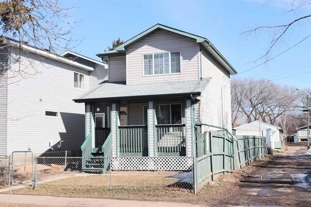 Welcome to this Fantastic 1998 Custom built 2 Storey Home! Main floor greats you with Bright Living room offers Brand New Flooring. Spacious Kitchen with lots of Kitchen Cabinets, Granite Counter Top, Walk-in Pantry. Convenience Main floor 1/2 Bath. Mud room & Back door to Landscaped Yard. Upper level offers 2 Sizable Bedrooms, Laundry room (Can be converted to a Den room) & 4pc Full Bathroom. Basement comes with Large Great room that can be function as 3rd Bedroom, Full Bathroom, Laundry & Utility room. Recent Upgrades: Fresh Painting, Shingle (2017), Water Softener (2017), Hot Water Tank (2016), Newer Light Fixtures, Switches, Electric Plugs, Front & Back Staircase. Front Veranda & Back Deck. Back Yard where you can park vehicles & for future Double Garage. Great Convenience Location with only minutes to Downtown, Yellowhead, Public Transportation, NAIT, School, Shopping Centre & all amenities. Perfect for Investors or Home Starters! Don't miss out this Low Affordable House! Quick Possession available.