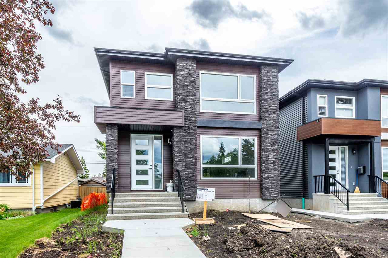 Stunning BRAND NEW home in PRESTIGIOUS Laurie Heights! This absolutely gorgeous infill home boasts nearly 1,900 sqft on a 23? building pocket ? this is not a normal SKINNY home! Open concept floor plan on main floor with 9? ceiling, engineered hardwood flooring in living room w/ modern linear F/P. Dream kitchen boasts high quality cabinets, Centre Island, stainless steel appliances and quartz countertops throughout.  Mud room is conveniently tucked away with custom bench/cubbies. Upstairs you will find 3 generously sized bedrooms, main bath and laurndry room. The master bedroom ensuite is a retreat with a soaker tub, customer shower & his/her sinks. Separate entrance to basement. SOUTH FACING backyard with a 21X22 double detached garage. Unbeatable location ? Close to School, River valley, Ravine, Edmonton Valley Zoo and quick access to 149 ST, Whitemud Dr, Misericordia Hospital and WEM!