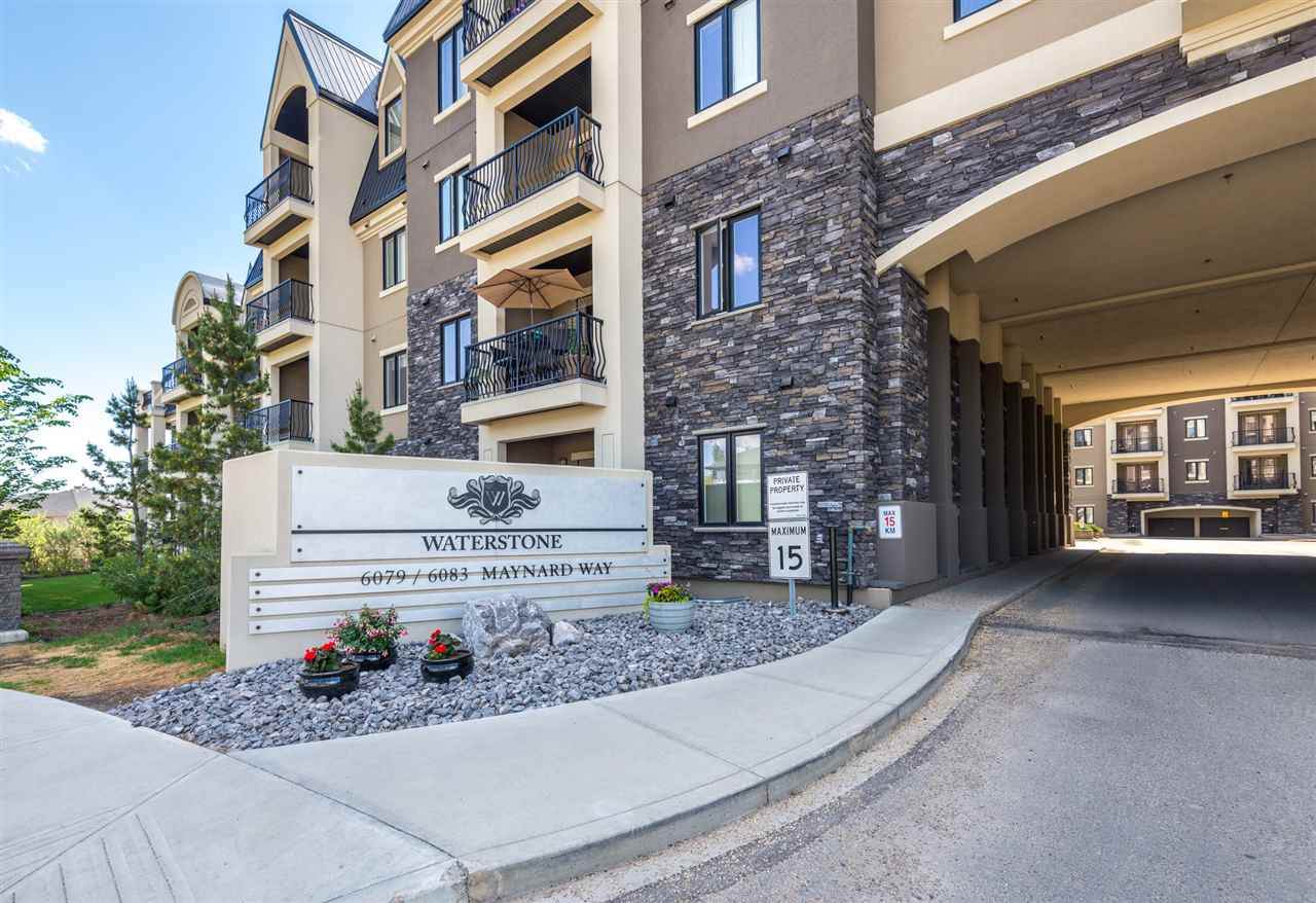 Welcome to TWO bdrm/TWO bath/TWO Car parking condo unit in Waterstone - Stunning acrylic stucco/stone exterior with architectural design in a serene setting with ponds & walking trails ? You will feel like living in a secluded oasis! This third floor unit features 9? ceiling, 930+ sqft, 2 bdrm, 2 full bath, central A/C, in-suite laundry & tandem heated/underground parking for two cars! Open concept with well-designed layout. The kitchen boasts loads of cabinetry & counter space, stainless steel appliances, beautiful tile backsplash & a breakfast bar. Spacious living room has access to the WEST FACING balcony. Master suite comes with a walk-through closet and a 3 piece master ensuite. Good sized second bdrm has convenient access to main bath & a laundry room. Waterstone offers excellent amenities with a social room, a well-equipped fitness room, guest suite, lots of visitor parking and much more! Fantastic location - close to K-9 Nellie Carlson schools, public transit, shopping and Terwillegar Rec Centre.