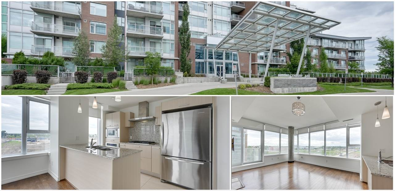 CORNER UNIT! Exquisitely finished upscale condo in the UNBEATABLE LOCATION of Century Park. SW facing unit with plenty of LARGE WINDOWS and natural light. Kitchen includes S/S Appliances, gas-cooktop, built-in oven, breakfast bar, granite counters and pendant lighting. Entertaining is a breeze in the bright living room with a gas fireplace, and PATIO DOOR opening to the SPACIOUS BALCONY with a BBQ gas line. KING-SIZED MASTER bedroom with double closet 5-pce spa-like ensuite equipped with soaker tub, GLASS RAIN-FOREST SHOWER, DOUBLE sinks and Kohler fixtures. A spacious second bedroom and 3-piece bath with tiled shower and flooring. Both bedrooms OVERLOOK the COURTYARD. Regent Century Park has a large exercise room and grande front lobby, HEATED UNDERGROUND PARKING, and STORAGE CAGE. WALKING DISTANCE to Century Park LRT station, shopping, medical offices, restaurants, parks and bike paths. Enjoy living in this well appointed, secured CONCRETE BUILDING!