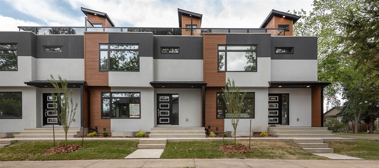 Ultra modern executive 3 storey, 3 bedroom, 3 bath, Triplex townhouse with  1765sqft. including garage parking! Steps to the Arts and Entertainment district on 124 st and the off lease area with a walking/biking trail all the way to the U of A ! The home features a roof top terrace with fabulous city views including a spacious Loft on the third floor with wet bar for entertaining. Open concept kitchen with top of the line appliances, Granite and Quartz counter tops, and a large eating bar, LED lighting throughout. The family room is entirely open to the kitchen and dining room area and flooded with natural light from the main floor windows. Upstairs there are 3 bedrooms, the main 5pce bath, stacking washer/dryer. The master has a 4pce ensuite and walkin closet. Ready spring/summer 2018. Situated in the heart of Inglewood with tree lined streets, turn of the century character homes and the best of cutting edge infill homes. Option for fully finished basement.