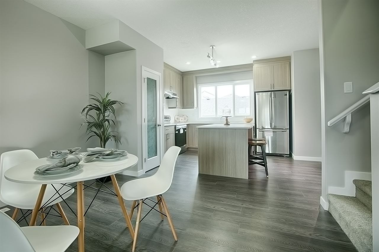 UPGRADED GEM! 22' DEEP GARAGE! NO CONDO FEES! GREAT VALUE! This 1365 sq ft (1420 sq ft builder plan) BRAND NEW FORMER SHOWHOME townhouse in Meadowview is stunning and functional! Features include: 9' ceiling, quartz countertops throughout, 3 beds including the beautiful master bed w/ 3 pce ensuite and w-in closet, luxury laminate, chef's kitchen w/ SS appliances, pantry & cabinets to ceiling & soft close drawers, mdf shelving, upgraded exterior, 9' ceiling in the basement, yard for the kids to play, DOUBLE DETACHED GARAGE....checks the boxes! 4 pce bath upstairs and 2 pce on the main floor for convenience. 1-2-5-10 year Progressive Home Warranty included. Located near the Dinosaur Park and walking distance to Caledonia School, location is superb! Call Meadowview home today!