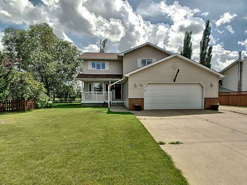 Amazing 4 bedroom, 3 bathroom 2226 sf 2 storey home in the desirable community of Cardiff.� The main floor has a laundry room, dining room, family room with gas fireplace, bathroom and kitchen.� Upstairs you will find 4 bedrooms.� The spacious master suite has his/her closet plus a 4 piece ensuite, 3 more generous sized bedrooms and a bathroom with double sinks.� The house has had quite a few renovations in the last 10 years including: shingles, eavestroughs, windows, doors, furnaces, A/C, HWT, composite (no maintenance) deck, carpet and a gas fireplace.� The house backs south onto a farmers field, has an over-sized double attached heated garage, parking for 7 more/RV parking, central A/C, fire pit & underground sprinklers.� Close to golf course and has bus to nearby schools.
