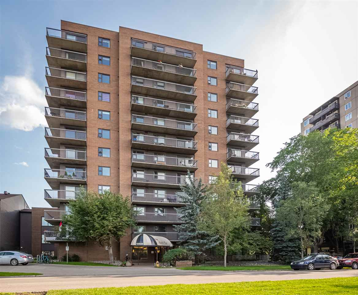 Fabulous fully renovated corner Unit at Waterford House on Saskatchewan Drive. Elegant interior over 1000 sq ft. with no expense spared in upgrades - over 50K in value including kitchen, bathrooms, Italian flooring, paint, custom wood blinds and appliances. Interior designer attention to all details and finishes make this a dream home where you just move in. In-suite laundry and Miele washer /dryer. Foyer entrance to the unit and beautiful floor plan. Lots of in-unit storage. Wrap around deck with east and south views. Secure building with on site manager, and workout, games and social rooms. Stable experienced management with KDM assisting the Board members. Reserve fund 1.2 million with new patio doors and windows. Pending upgrades to common areas in paint and flooring. Assigned Parking Stall #36. Extra stalls are available. Storage locker. Close to University Kinsmen Sports Centre, Whyte Ave., downtown business district and river valley walking trails. Affordable luxury awaits you.