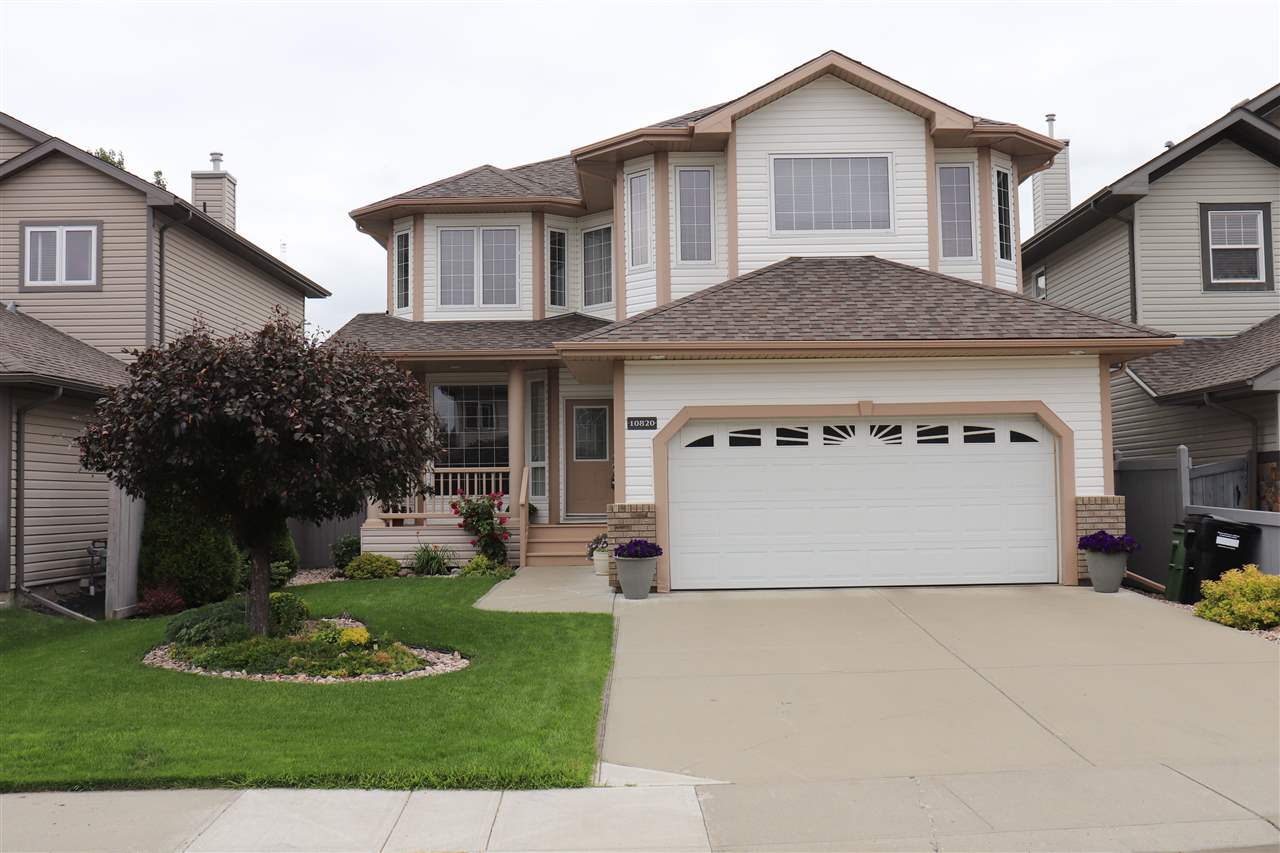Welcome to this Stunning/Custom Built/2500 Sf 2 Storey Home situated in the desirable community of Chambery! Large Entrance greets you with Open Concept Floor Plan Living room offers Gorgeous Hardwood floorings/Cozy Fireplace w TV Niche/Bright Window. Spacious Kitchen with lots of Kitchen Cabinets/Backsplash Tiles/Raised Kitchen Island with Double Sinks/Walk-through Pantry. Dining area has Large Window overlooks to Deck/Professionally Landscaped fenced Yard with Shrubs/Trees. Convenient Main floor Den room & Bathroom. Solid Wood Staircase leads you to Upper floor comes with Huge Family room with lots of Windows; Fireplace & 3 Sizable Bedrooms. Master Bedroom with Walk-in Closet & 4pc En-suite incl Jacuzzi. Bedroom #2 has Walk-in Closet. Additional Full Bathroom for the other 2 Bedrooms. Laundry areas in upper floor & basement. Easy access to Schools/Public Transportation/Shopping Centre/Anthony Henday Dr & all amenities! Quick possession available. Don't miss out this Amazing Home! Just move-in & enjoy!