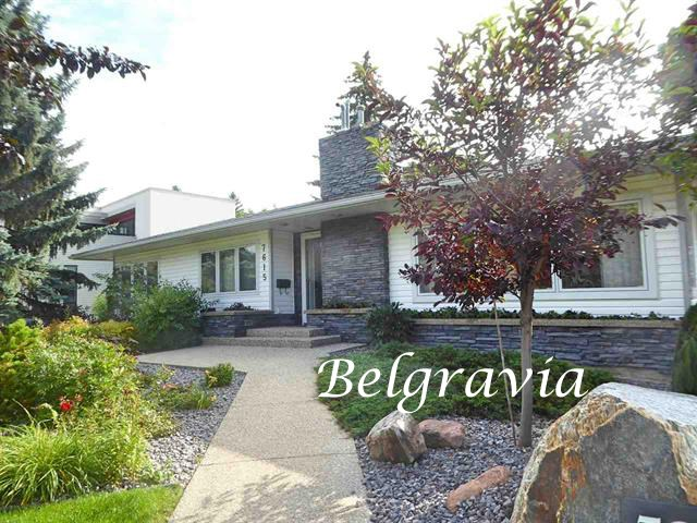 Welcome to BELGRAVIA and this lovely 1631 sq ft 3-BDRM bungalow in a great SASKATCHEWAN DRIVE location. Main floor features include hardwood floors, an updated kitchen with high end SS appliances and built-in eating nook, large Pella windows allowing abundant natural light and a master suite with a lovely 4-piece ensuite. The back entry/mudroom includes the washer/dryer equipped with a steamer. The fully developed lower level has a family room, a library with beautiful built-in cabinetry, a bedroom, a 3-piece bath and a games area currently a gym. The yard is beautifully landscaped with aggregate/unistone walk-ways and patios, a lovely contemporary wood fence, a sun deck, and a variety of interesting perennials, shrubs and trees. This property also includes a fully contained 25?x27? guest house great for company or nanny. The lot is 11,000+ sq ft. This charming home is conveniently located steps to the trails of the river valley, the U of A and hospitals, and a short commute to downtown. A must to view!!